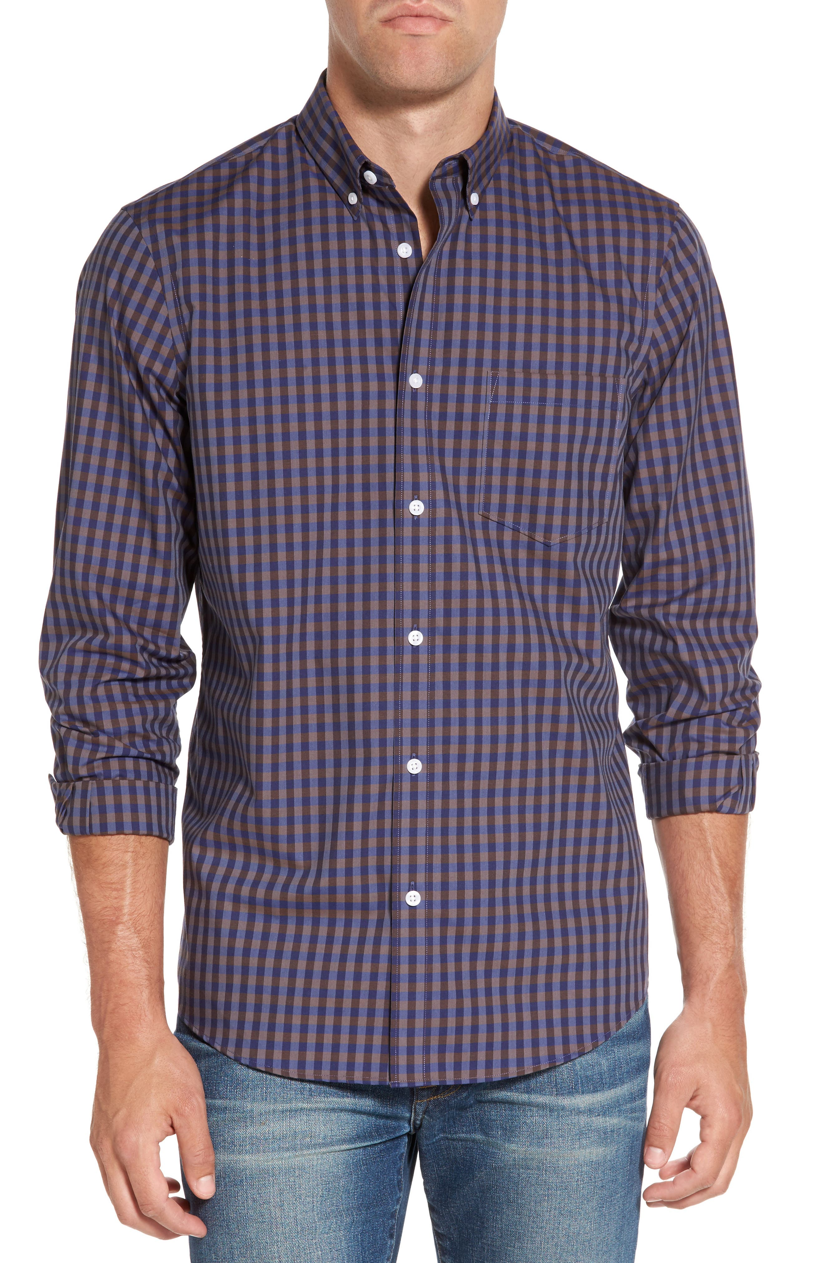 Regular Fit Non-Iron Check Sport Shirt,                         Main,                         color, Navy Iris Brown Gingham