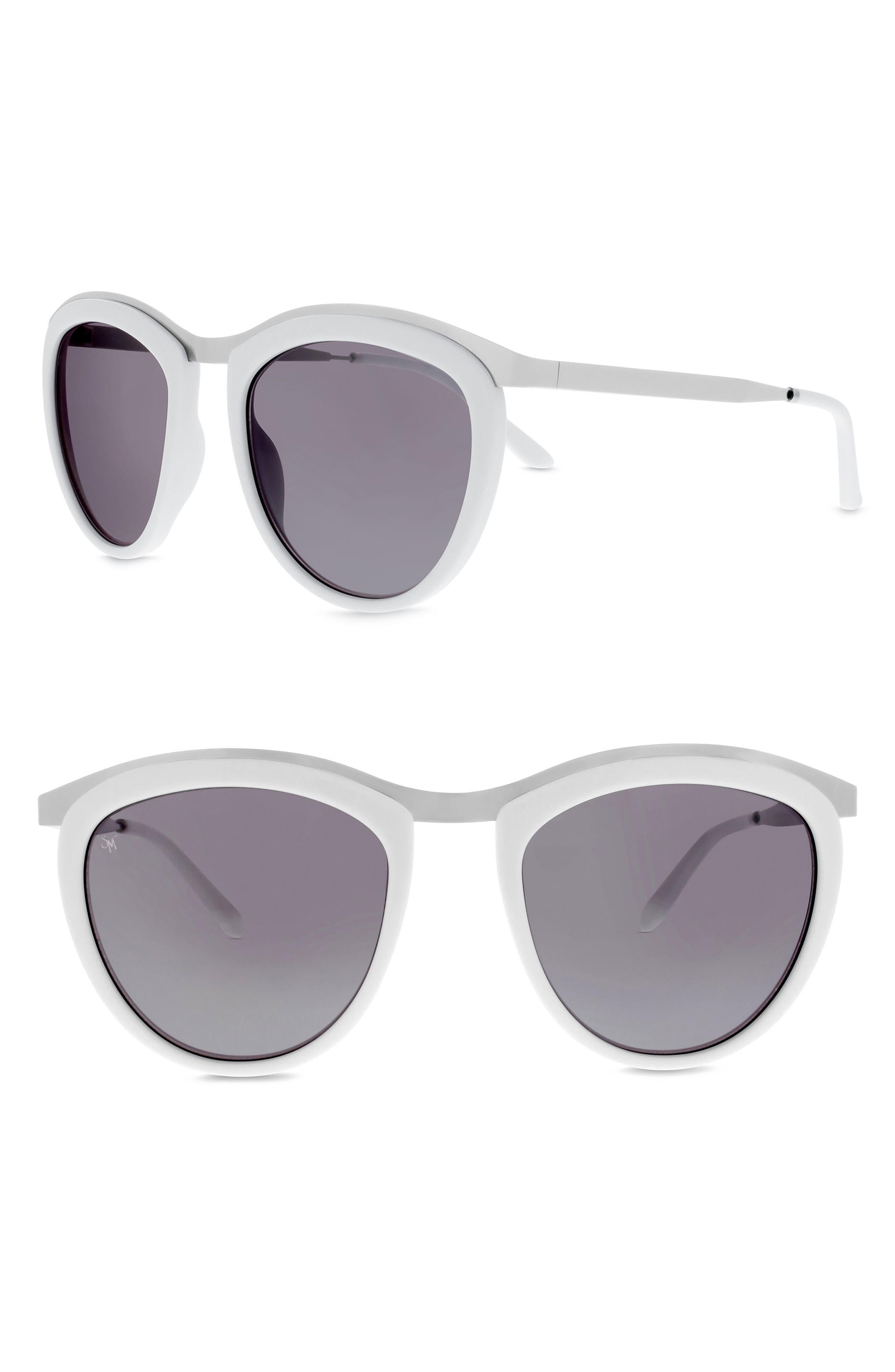 Comic Strip 51mm Round Sunglasses,                         Main,                         color, White/ Silver/ Silver Mirror