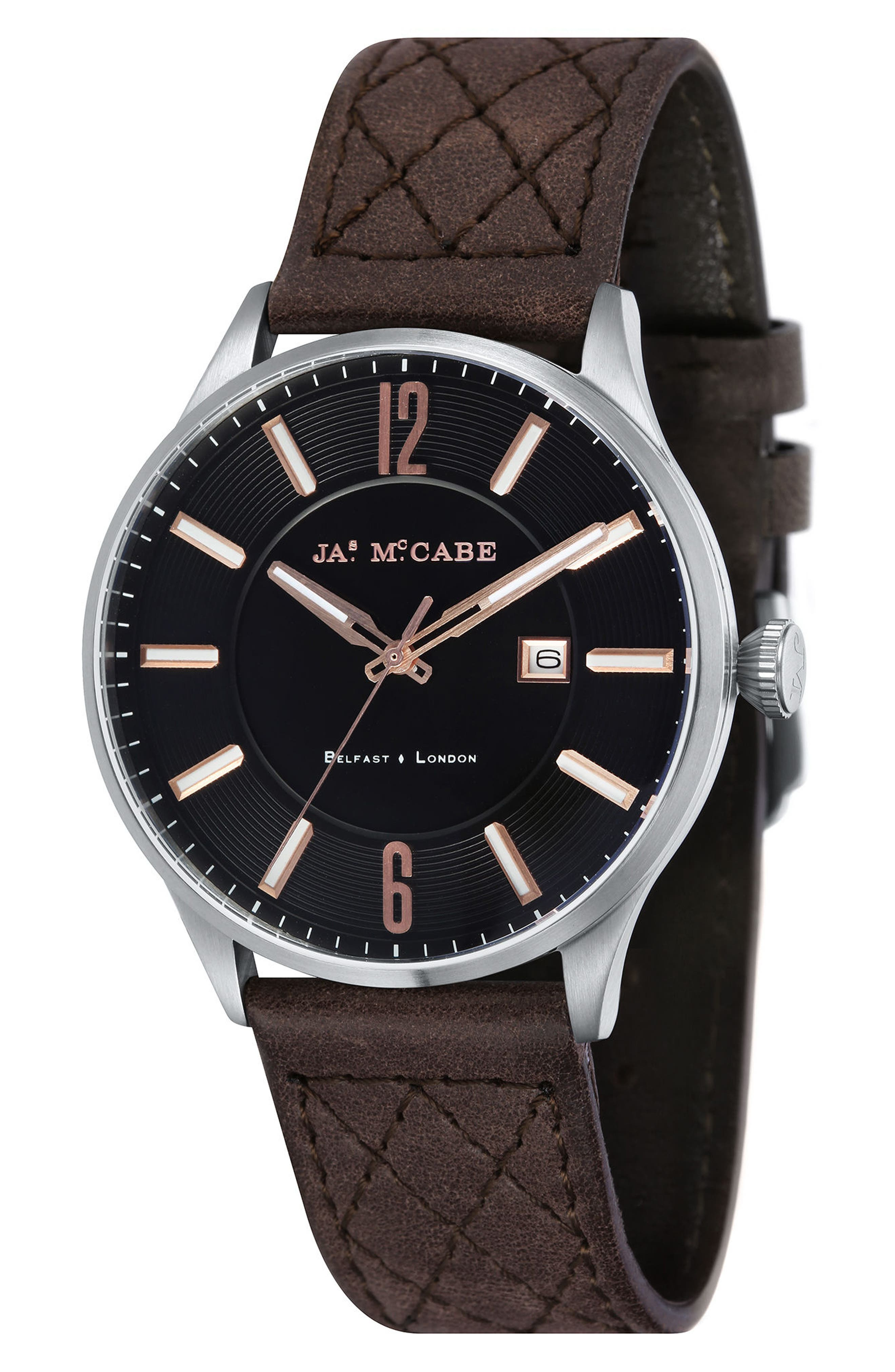 London Slim Leather Strap Watch, 43mm,                         Main,                         color, Black/ Dark Brown