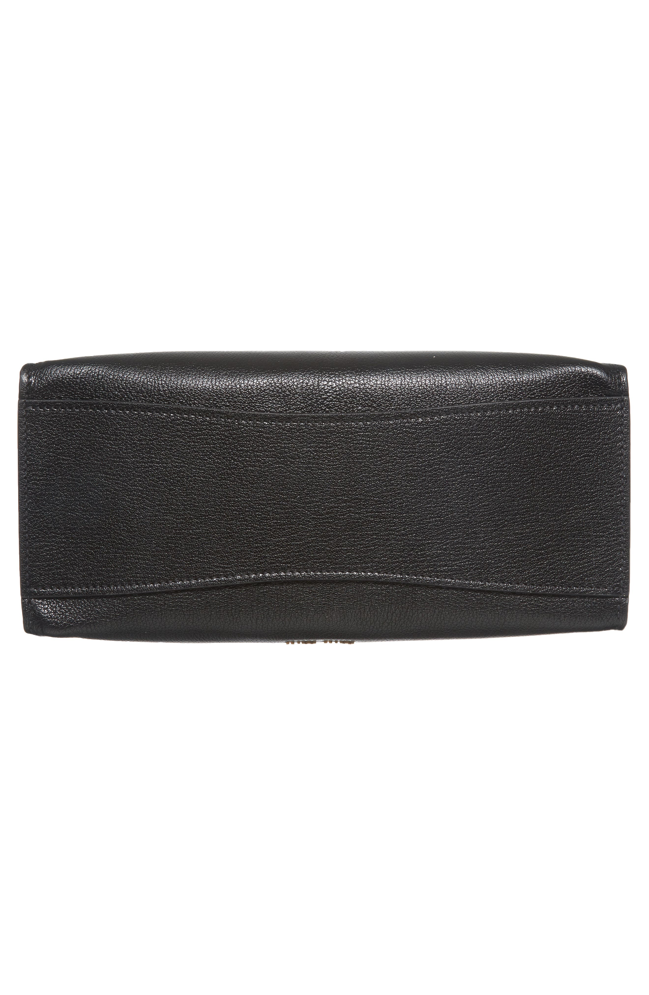 Madras Click Goatskin Leather Satchel,                             Alternate thumbnail 6, color,                             Black