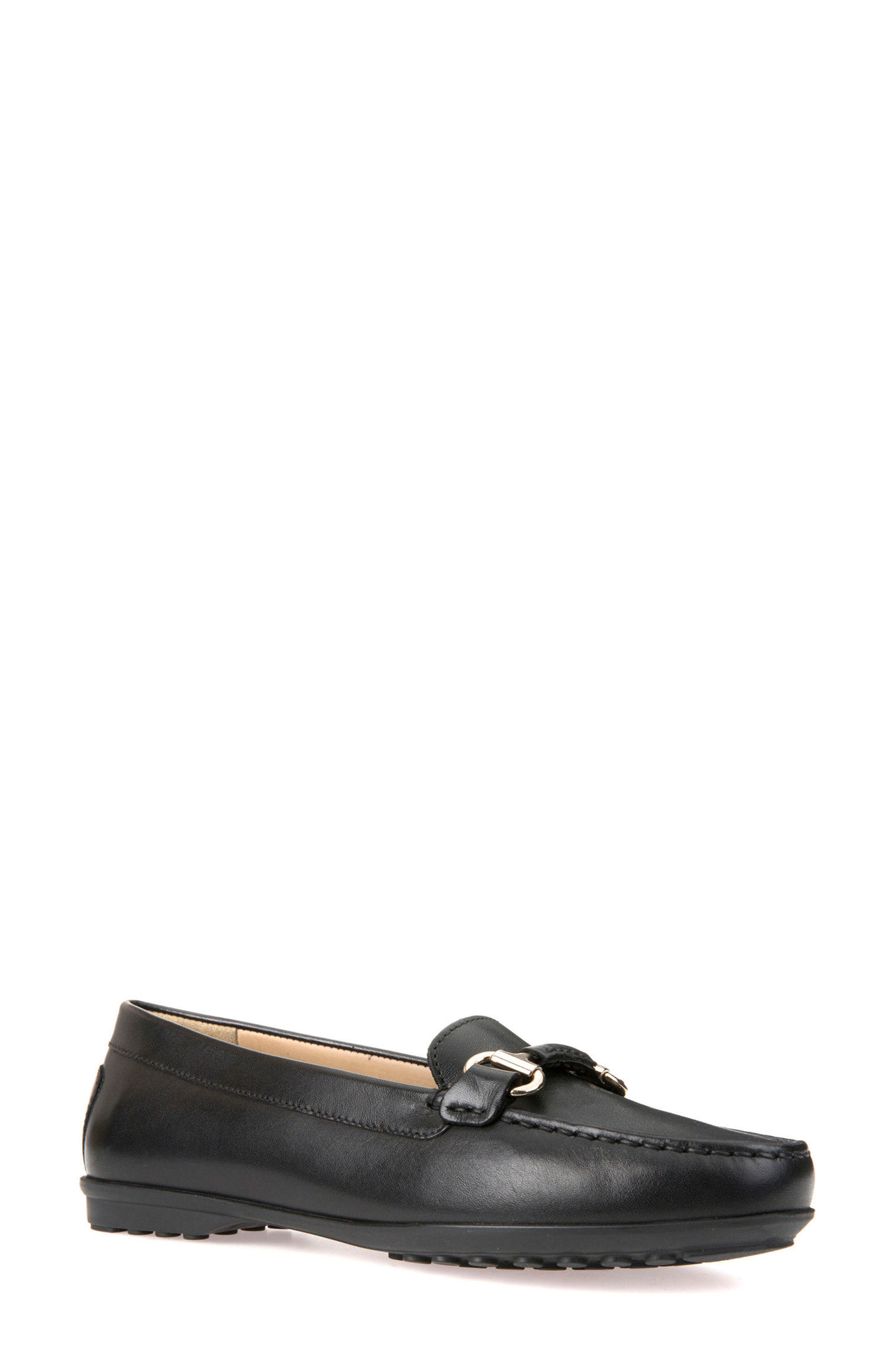 Elidia Buckle Loafer,                         Main,                         color, Black Leather