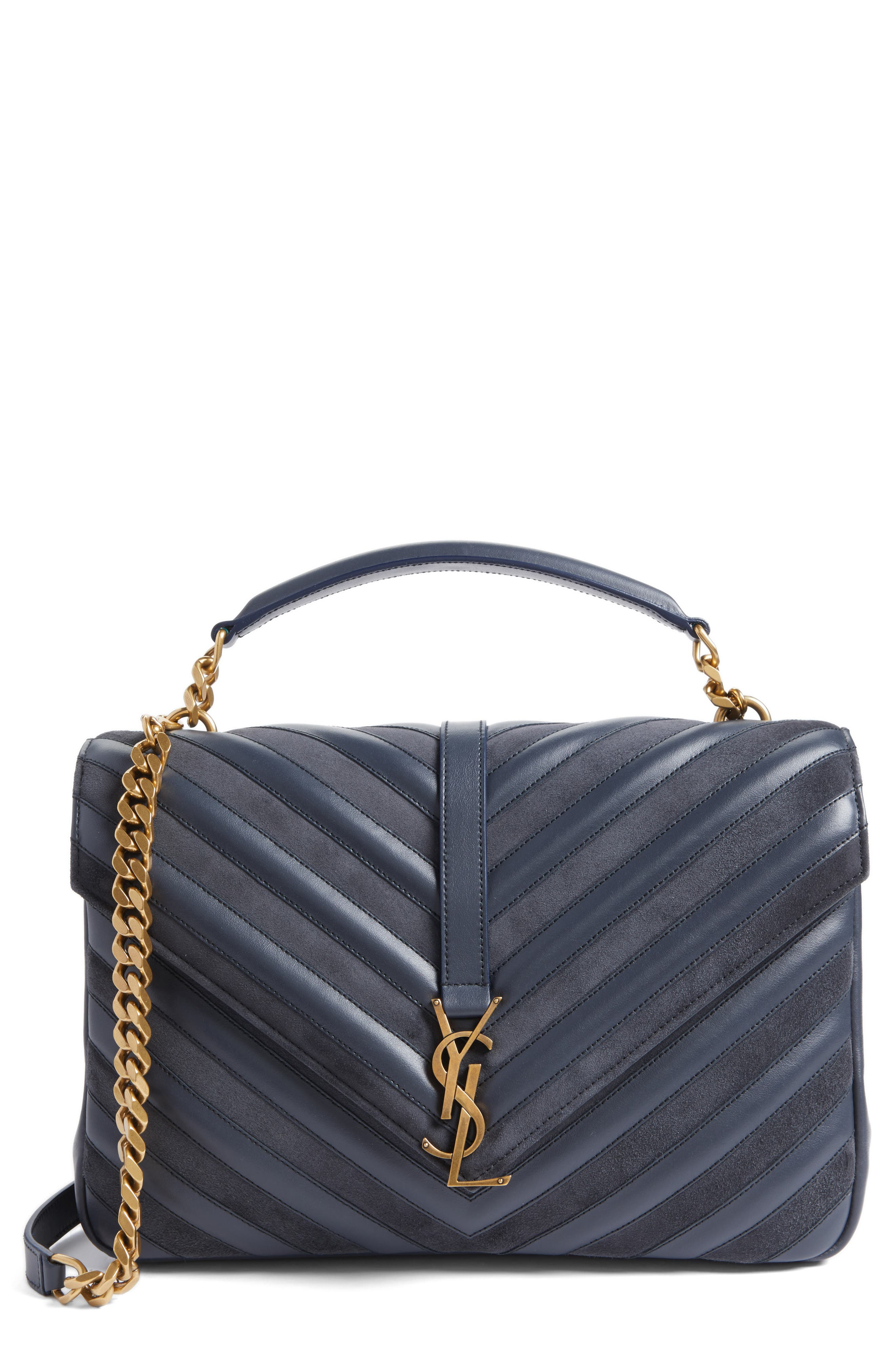 Medium College Patchwork Suede & Leather Shoulder Bag,                         Main,                         color, Graphite