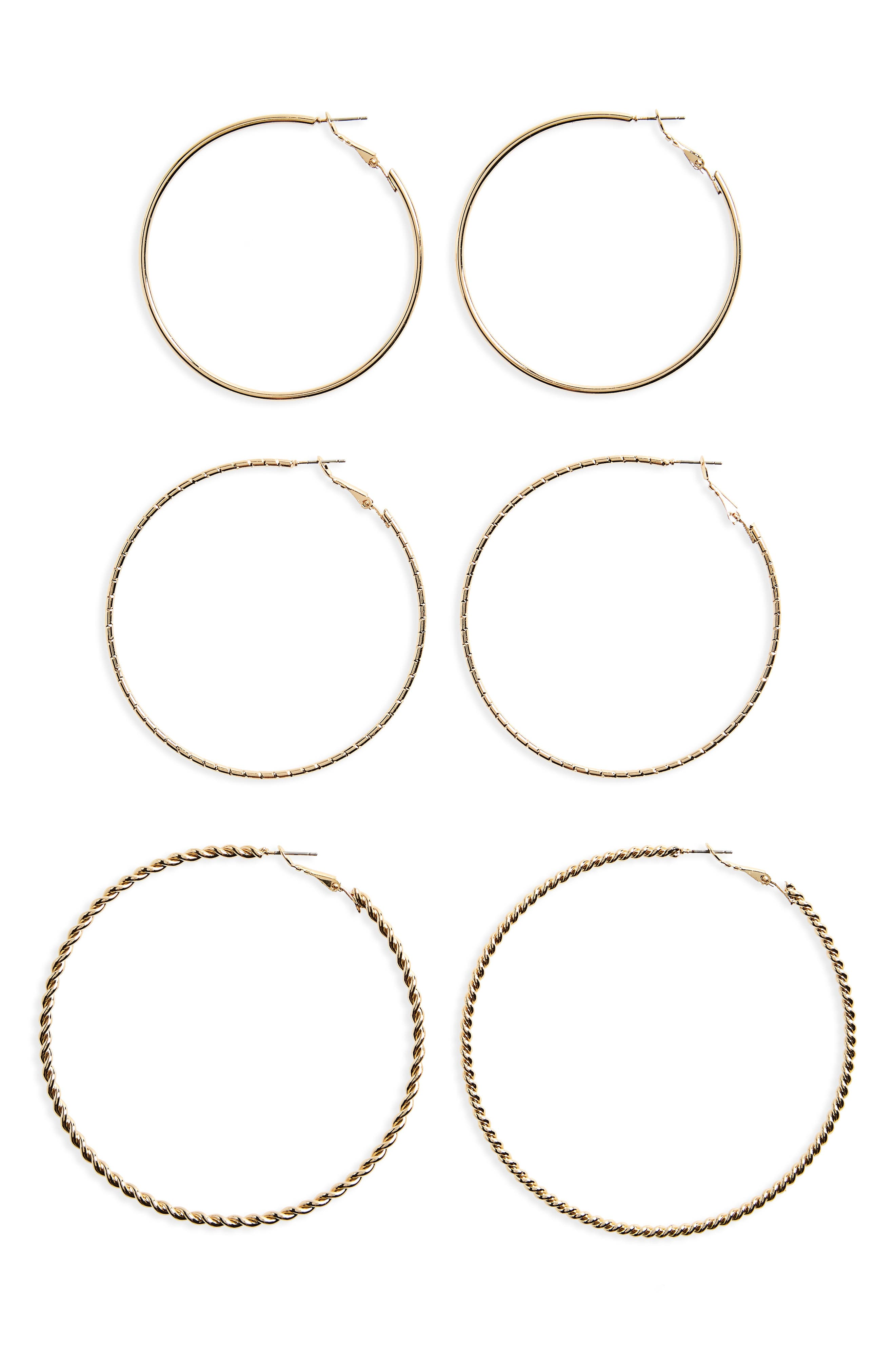 BP. 3-Pack Large Hoop Earrings