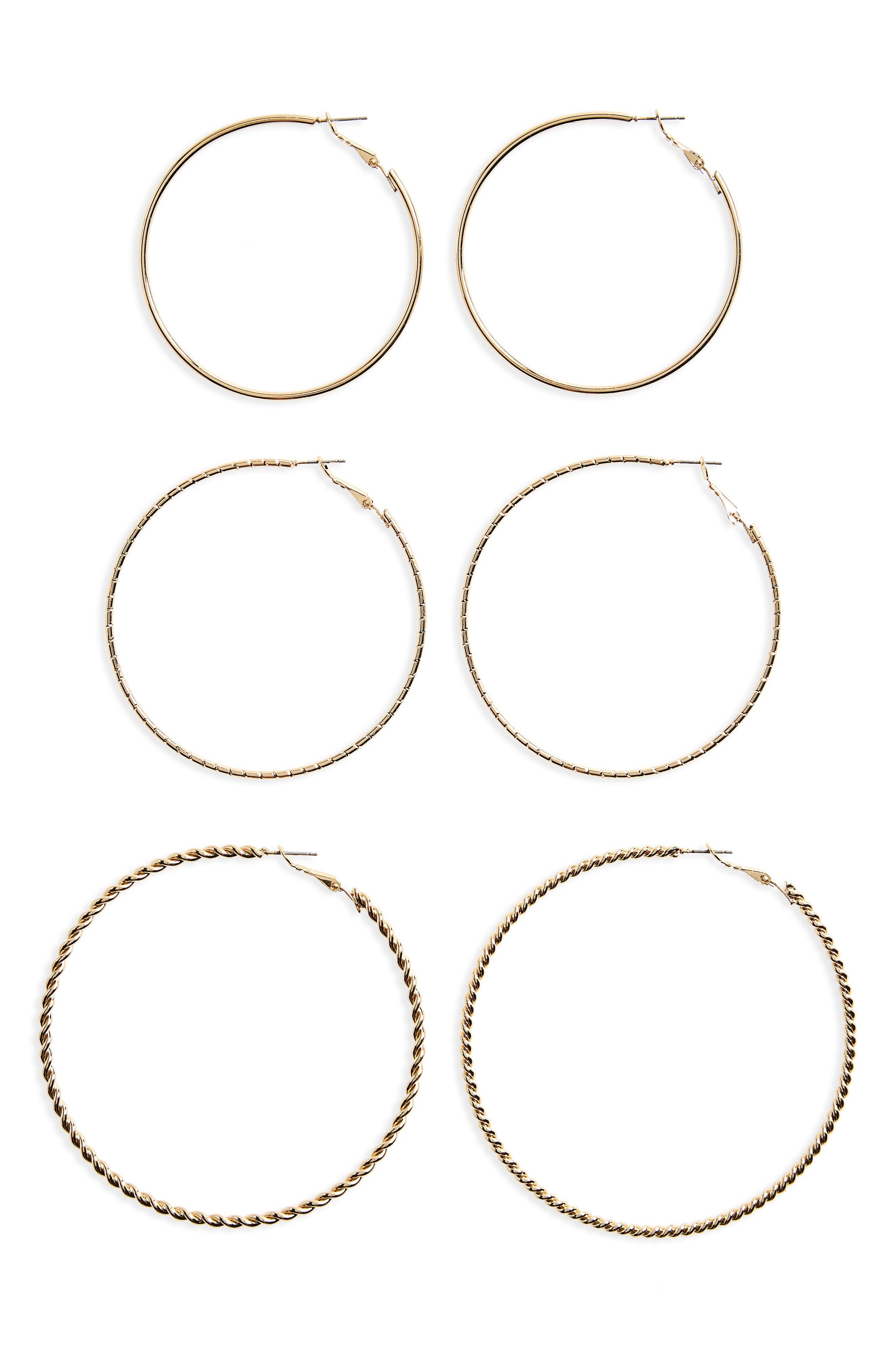 BP. 3-Pack Large Hoop Earrings