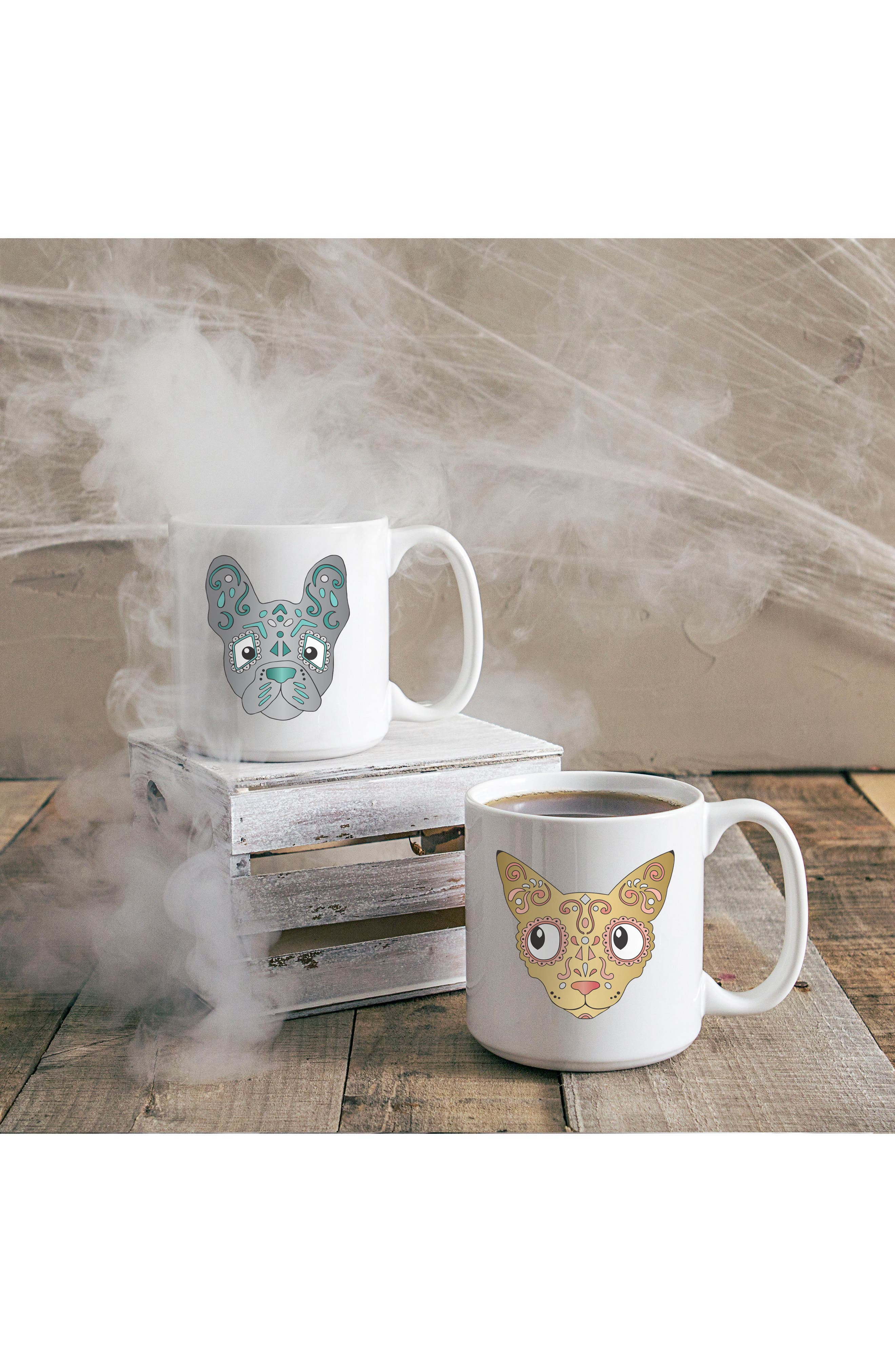 Set of 2 Sugar Skull Pet Mugs,                             Alternate thumbnail 3, color,                             White