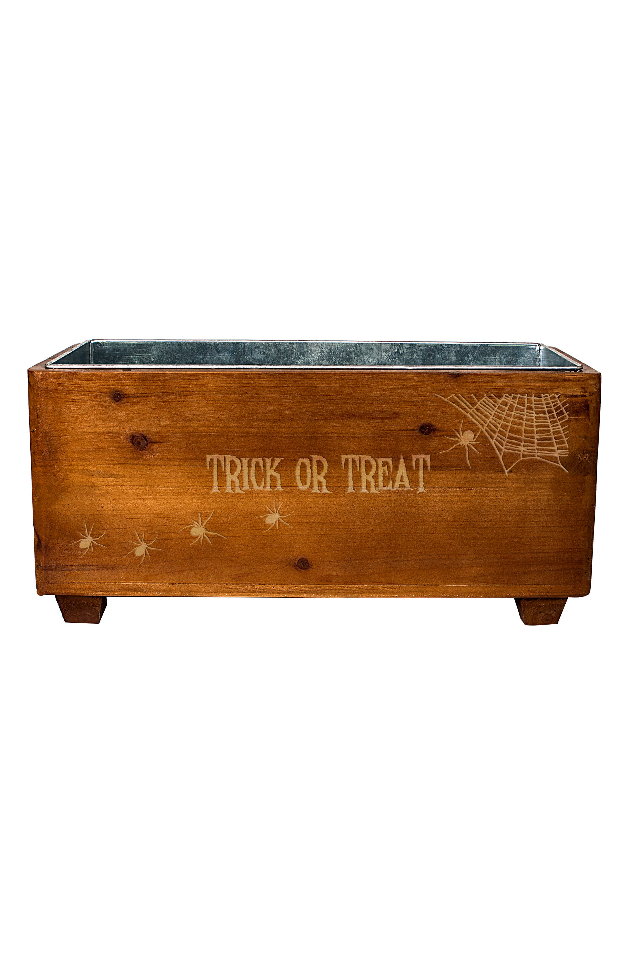 Trick or Treat Wood Wine Trough,                             Main thumbnail 1, color,                             Brown