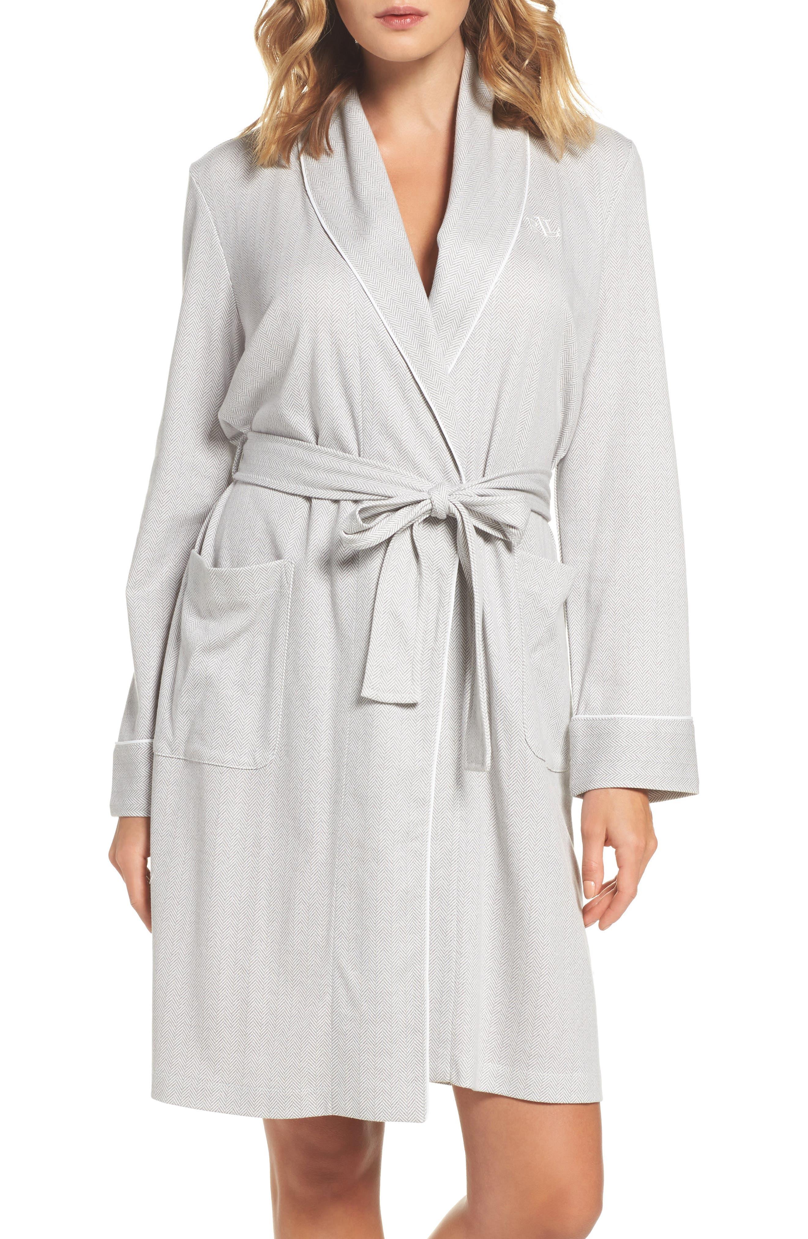 Short Robe,                         Main,                         color, Grey Herringbone