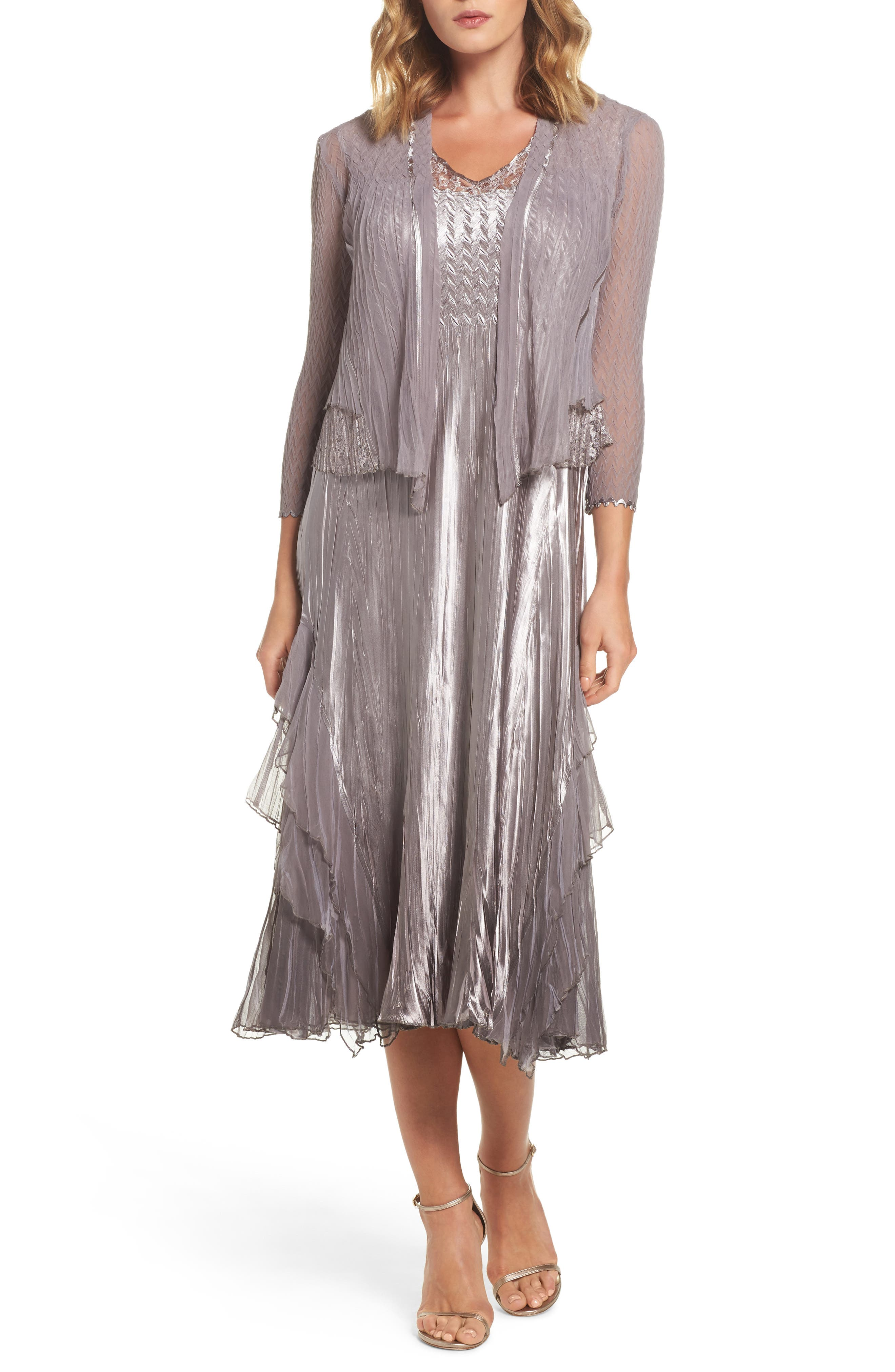 Komarov Waterfall Dress with Jacket (Regular & Petite)