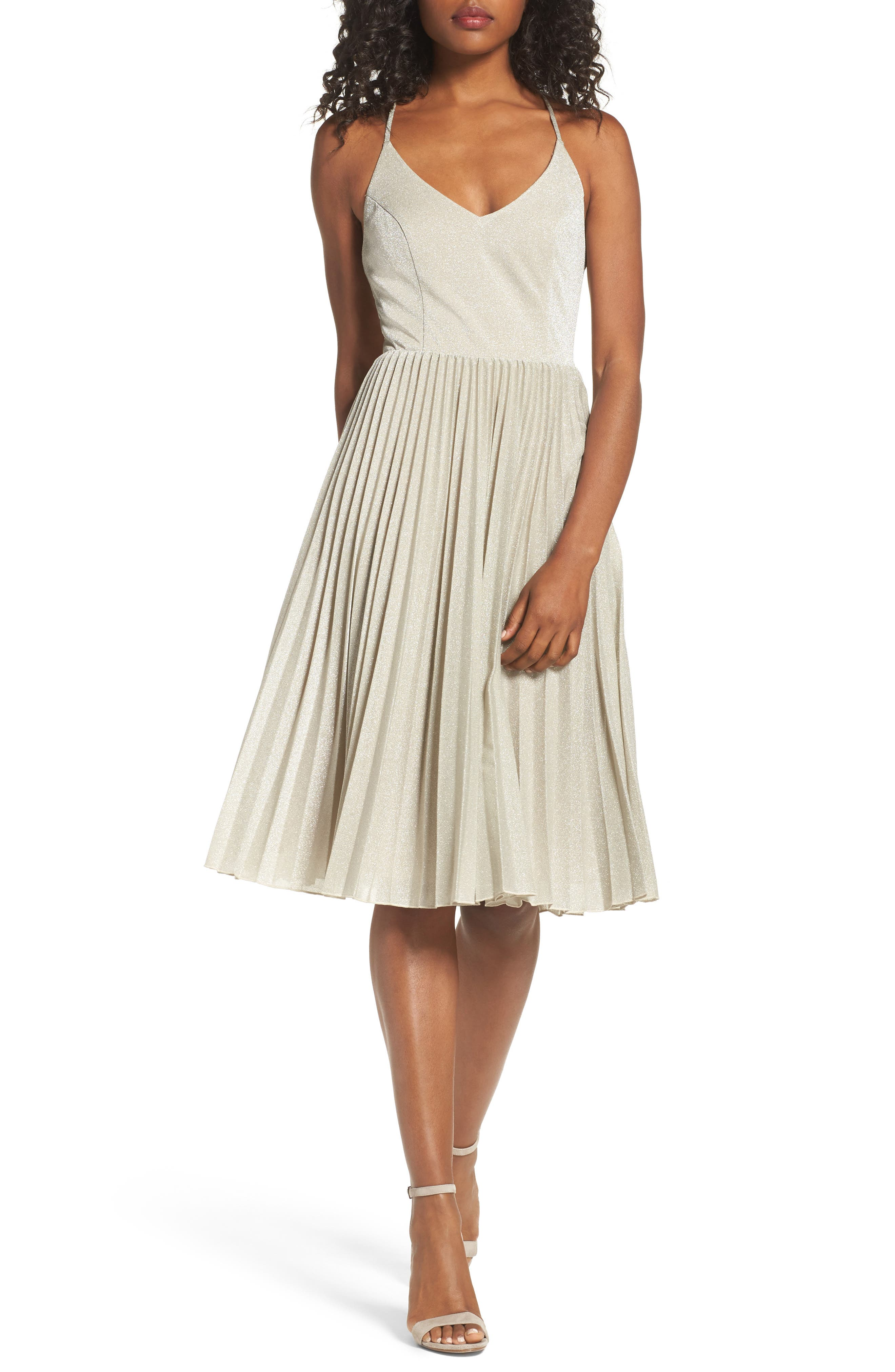 Jolene Fit & Flare Dress,                         Main,                         color, Silver