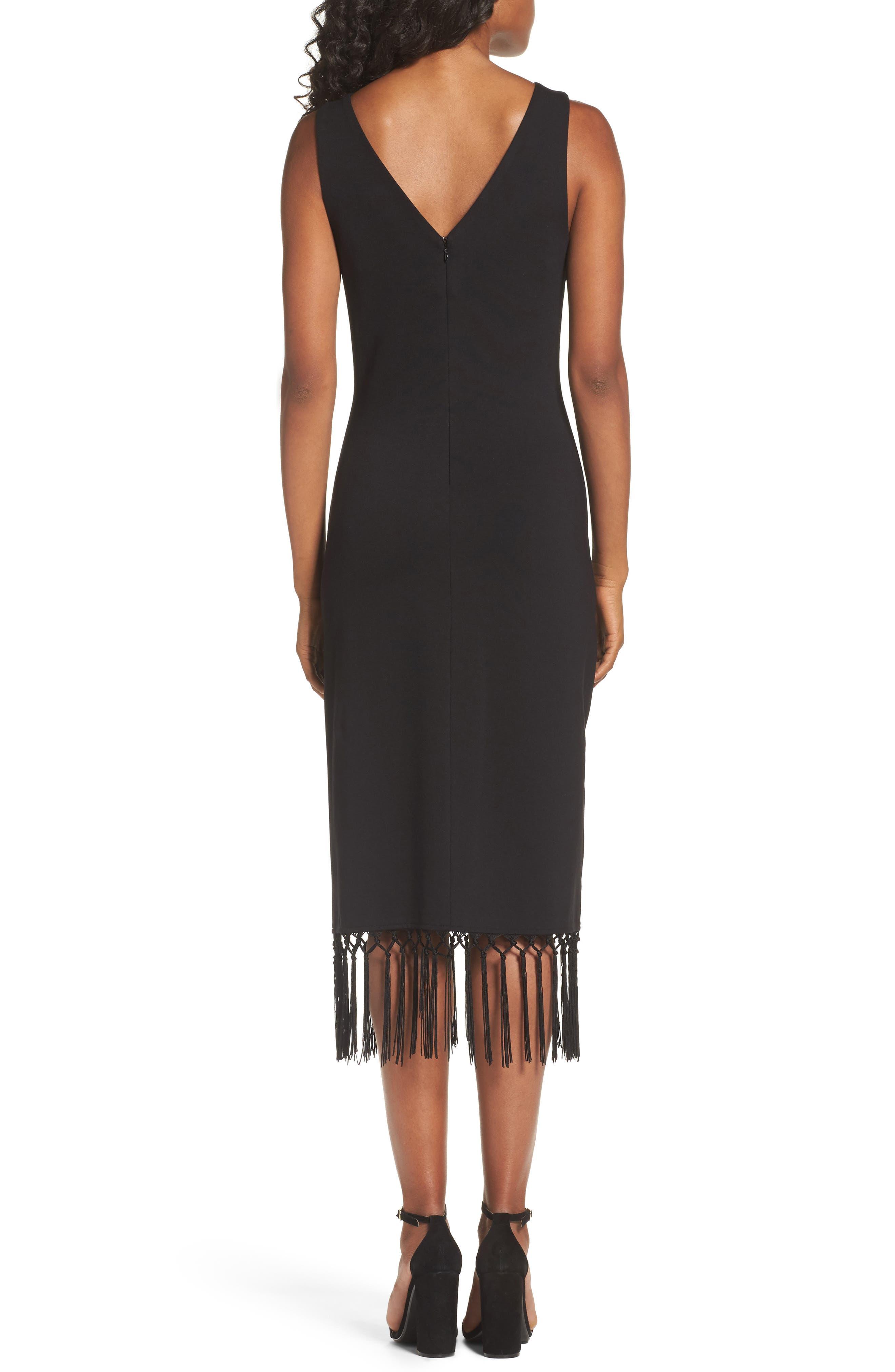 Tassel Midi Dress,                             Alternate thumbnail 2, color,                             Black