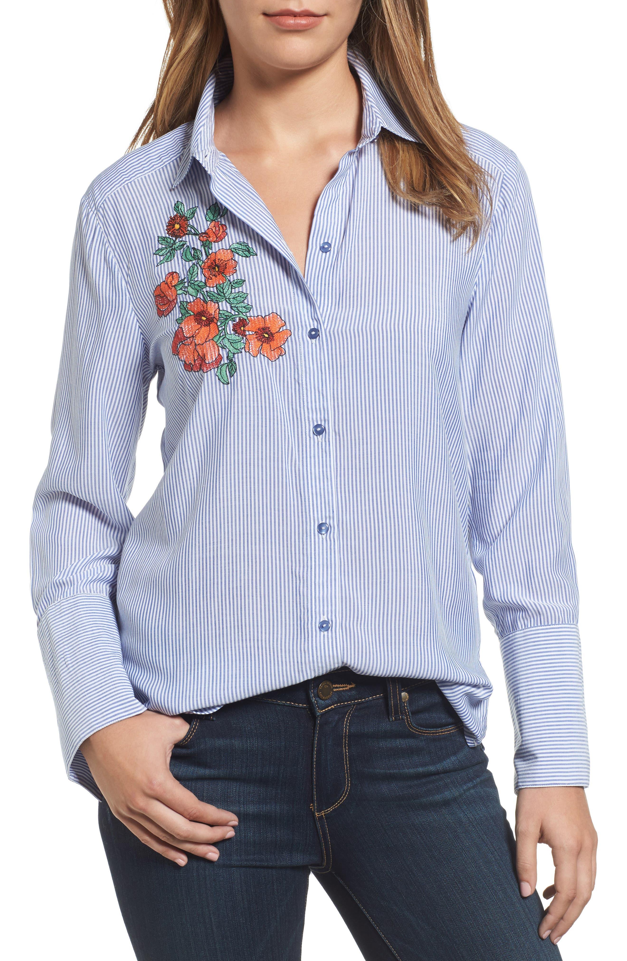 Wide Cuff Embroidered Button Down,                         Main,                         color, Blue/ White