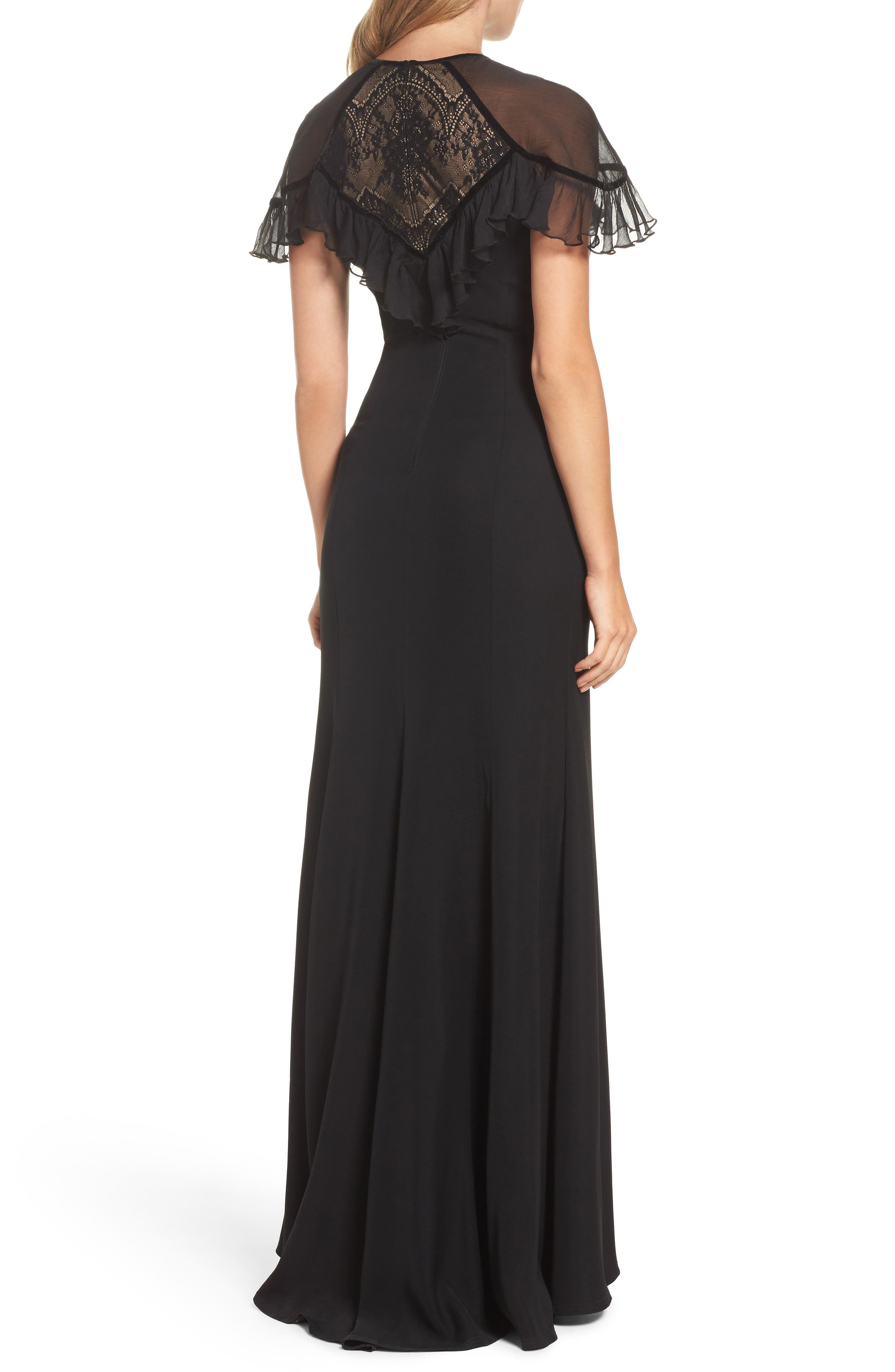 Lace Inset Crepe Gown,                             Alternate thumbnail 2, color,                             Black/ Nude
