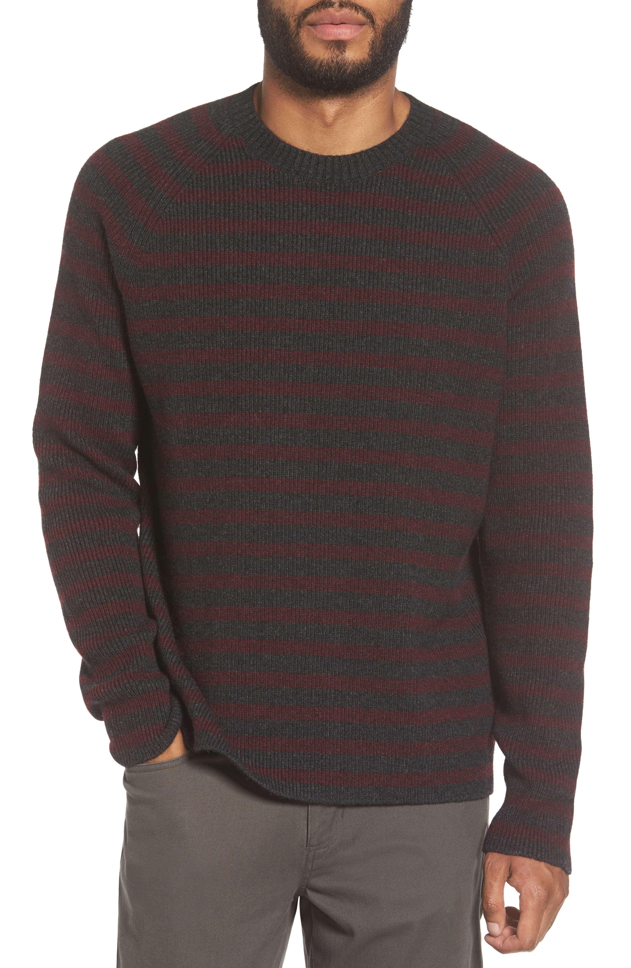 Stripe Wool & Cashmere Sweater,                         Main,                         color, Heather Carbon/ Burgundy
