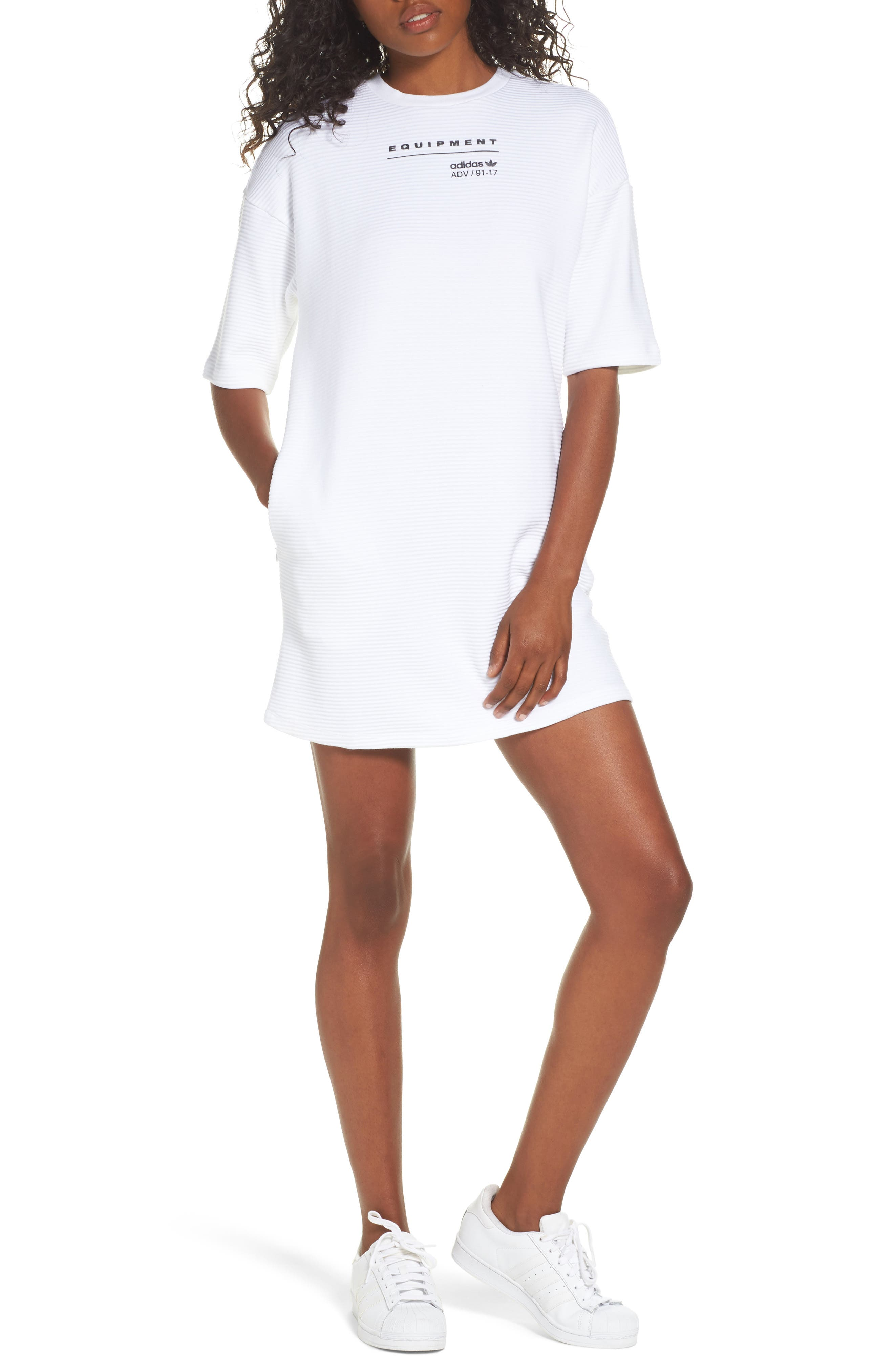 Originals EQT T-Shirt Dress,                             Main thumbnail 1, color,                             White
