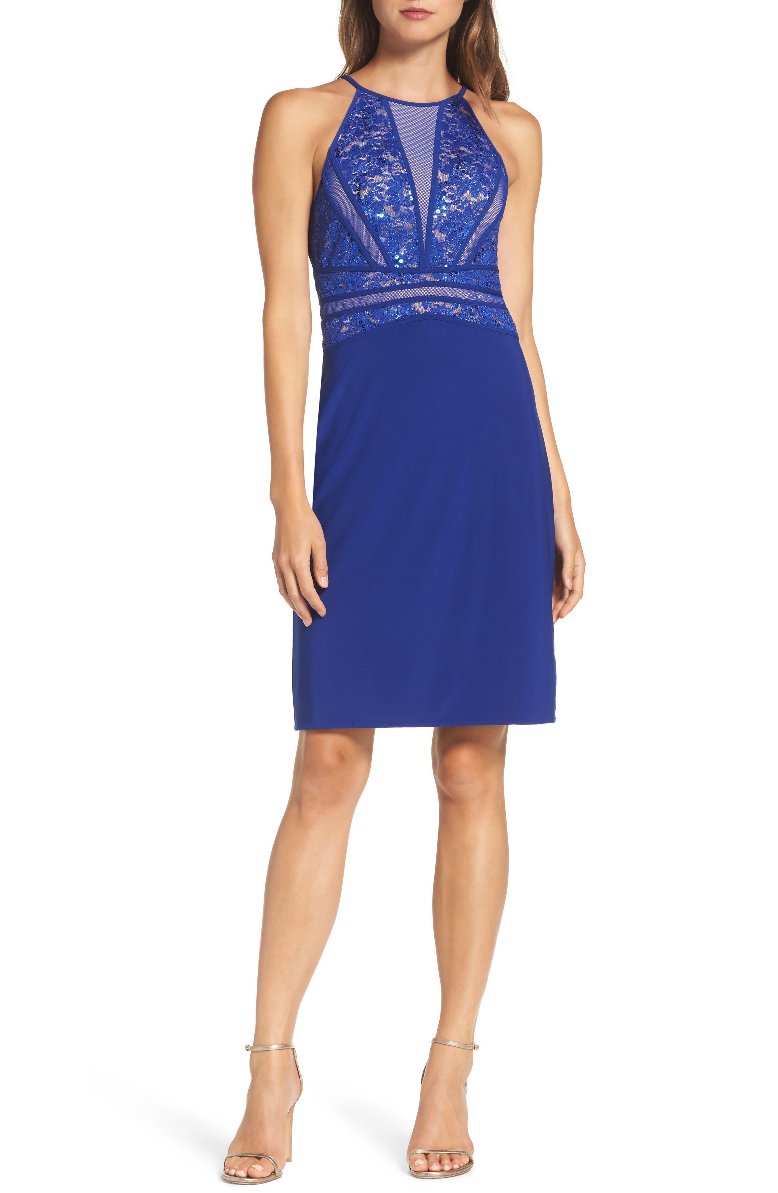 Morgan & Co. Sequin Embellished Lace Sheath Dress