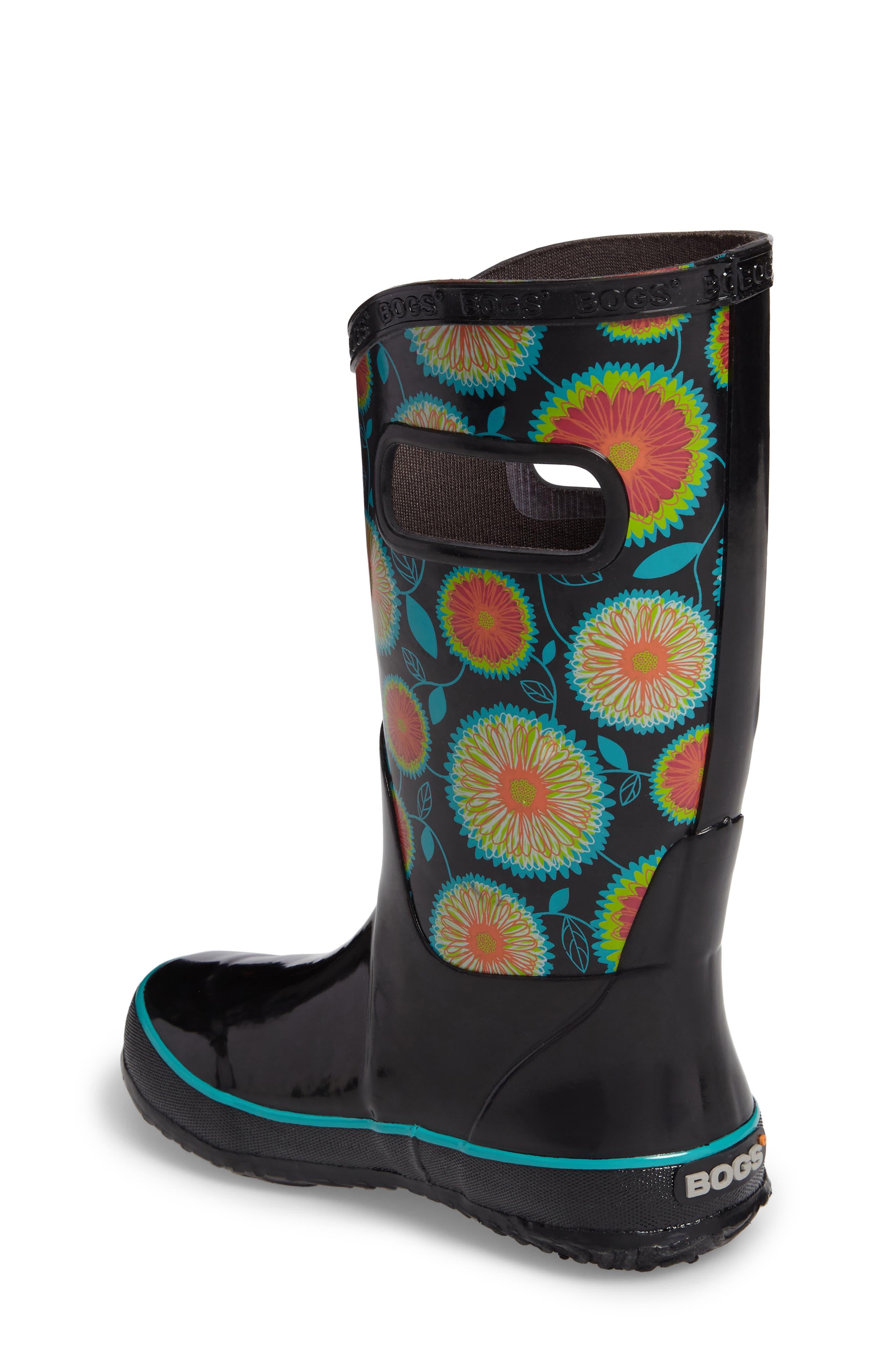 Wildflowers Waterproof Rubber Rain Boot,                             Alternate thumbnail 2, color,                             Black Multi