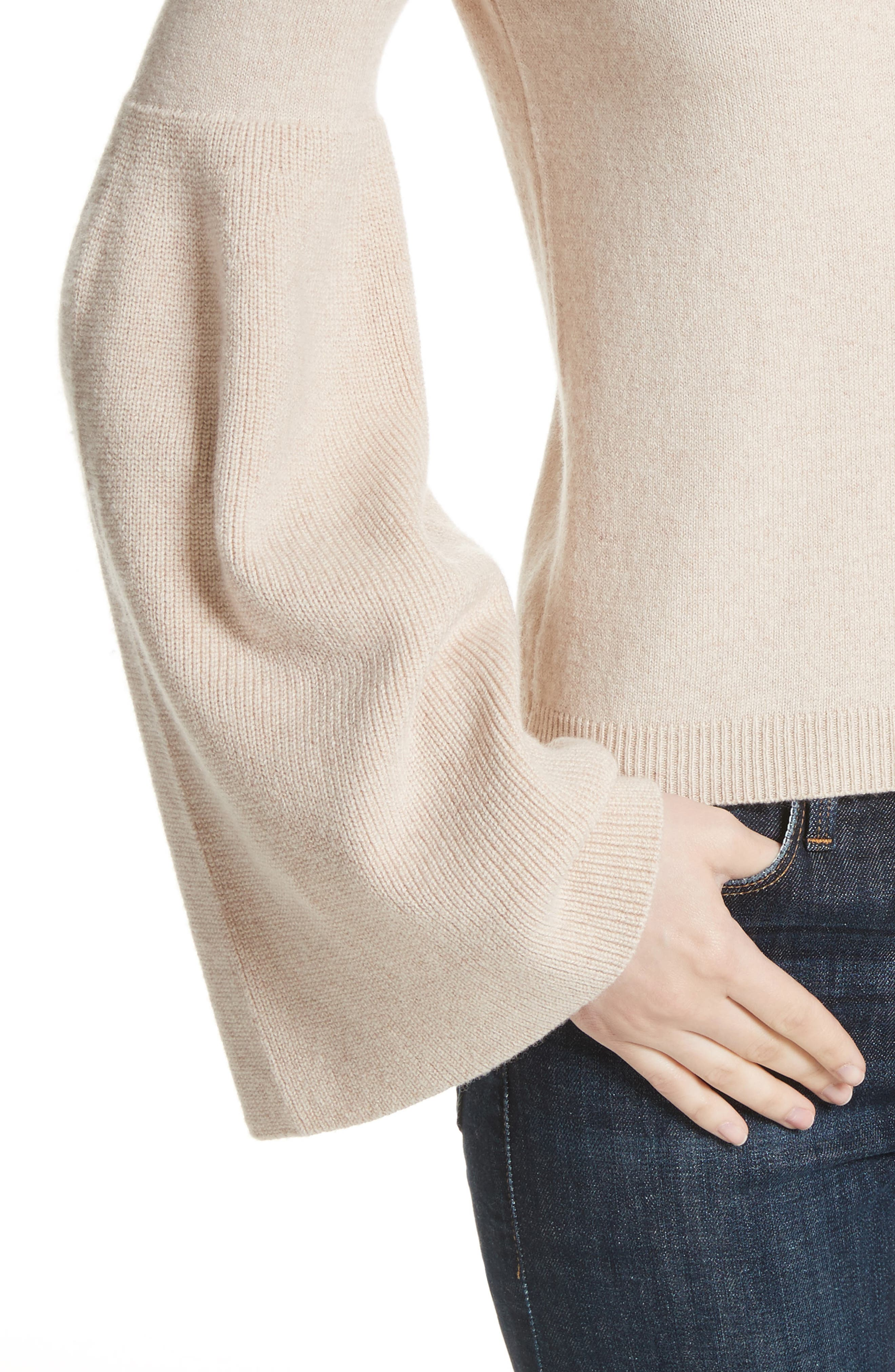 Parson Bell Sleeve Sweater,                             Alternate thumbnail 4, color,                             Nude