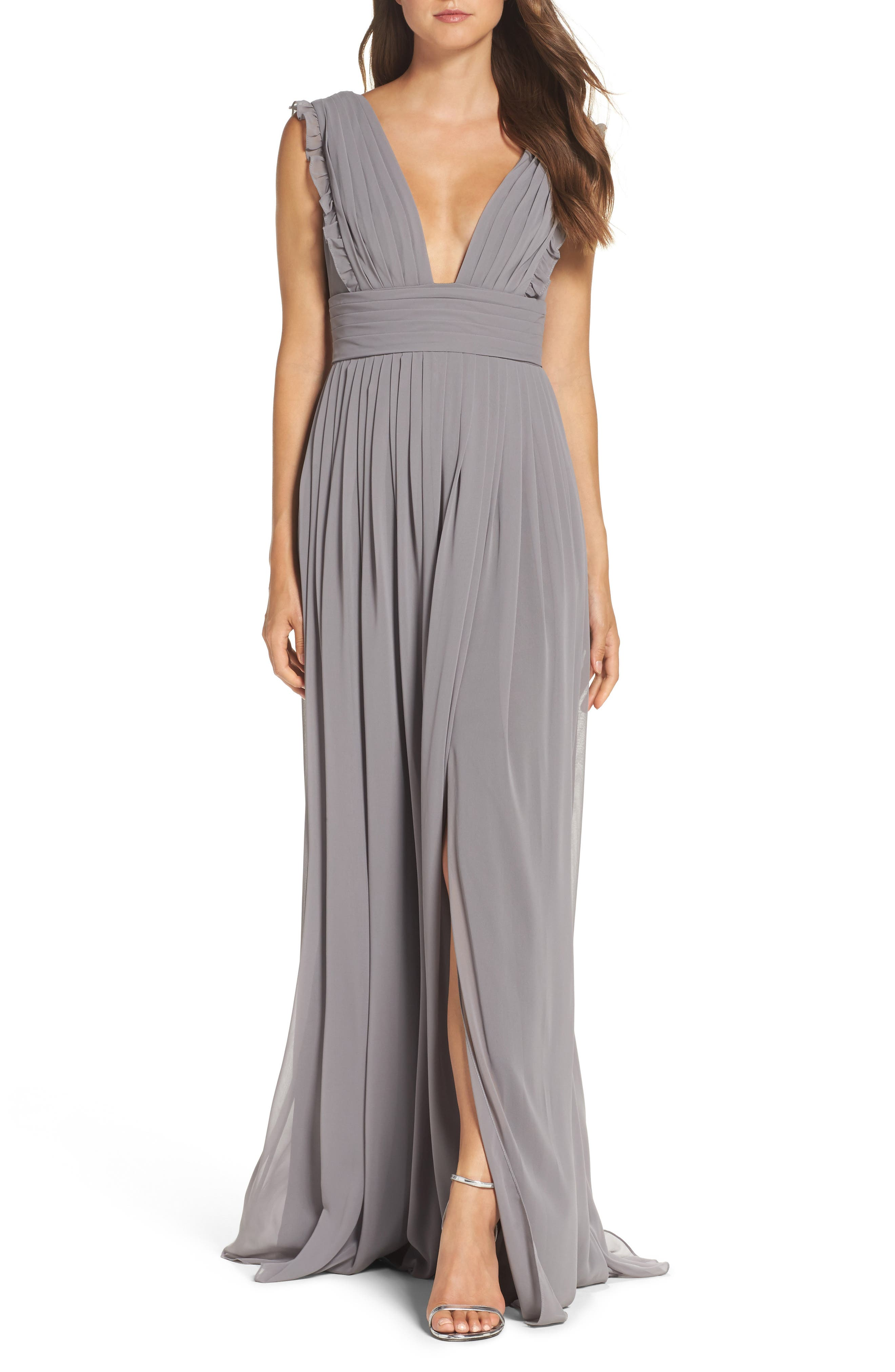 Main Image - Monique Lhuillier Bridesmaids Deep V-Neck Ruffle Pleat Chiffon Gown