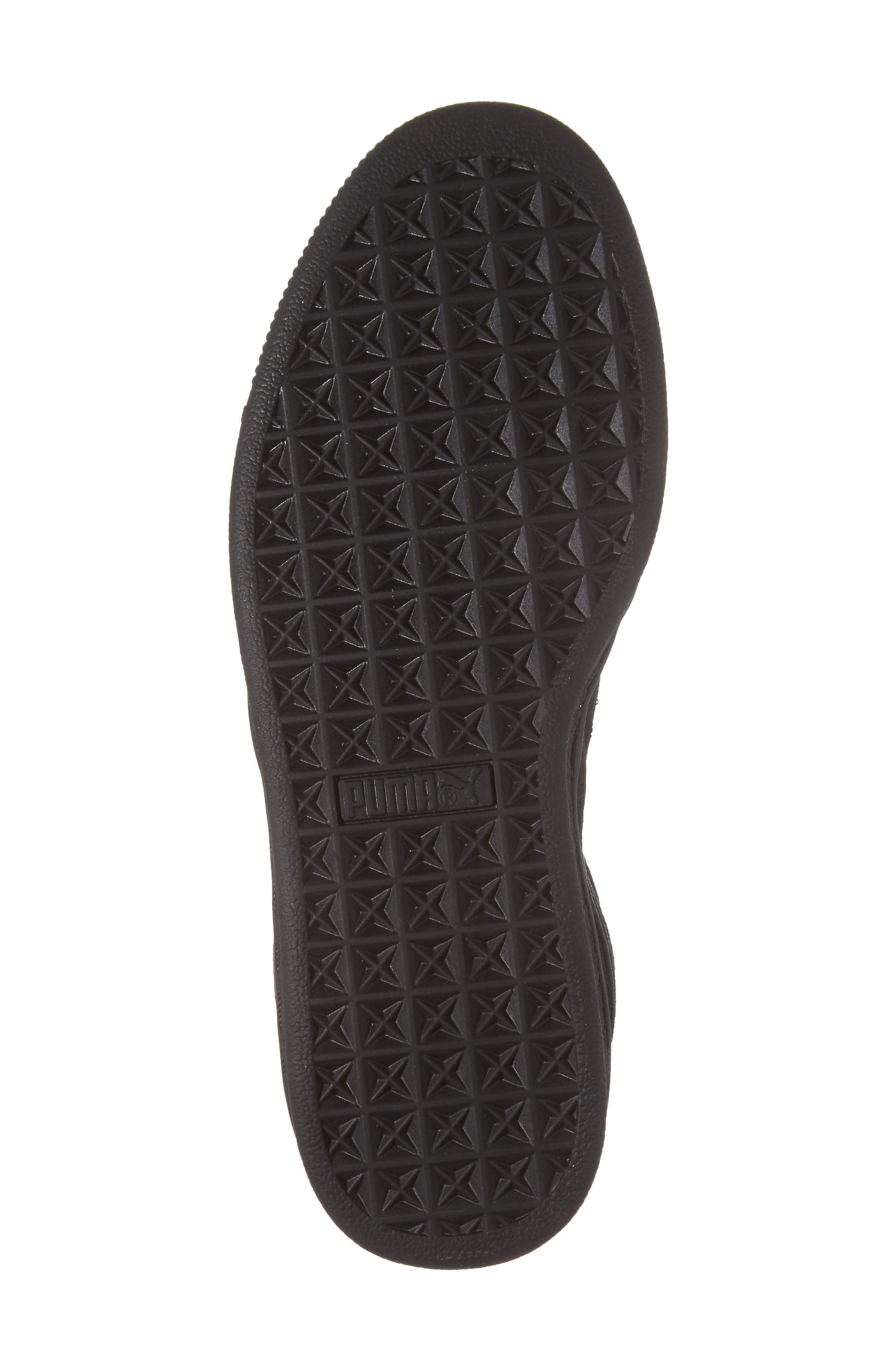Suede Classic Badge Jr. Sneaker,                             Alternate thumbnail 6, color,                             Black/ Black