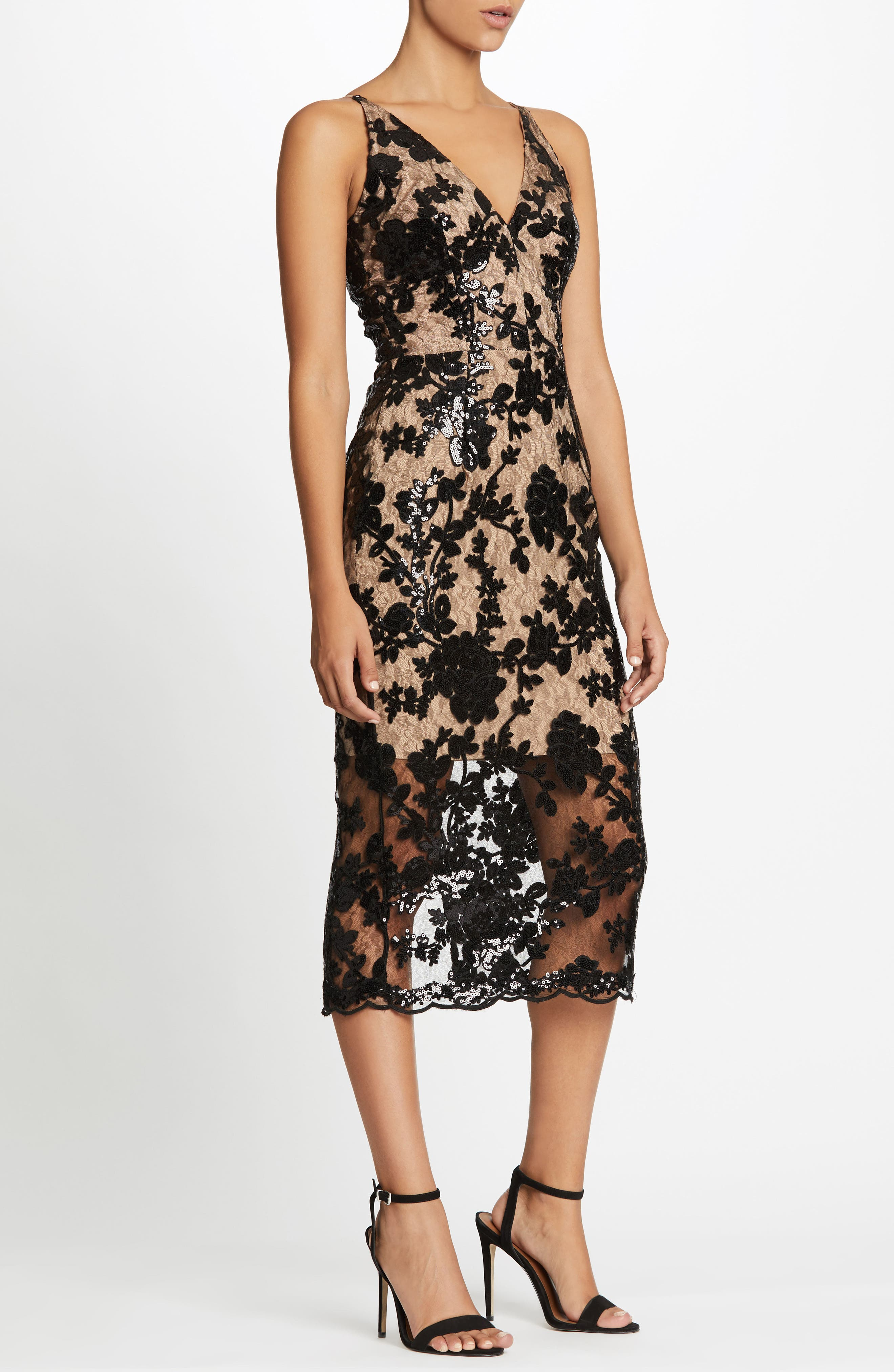 Alternate Image 4  - Dress the Population Rebecca Floral Lace Midi Dress (Nordstrom Exclusive)