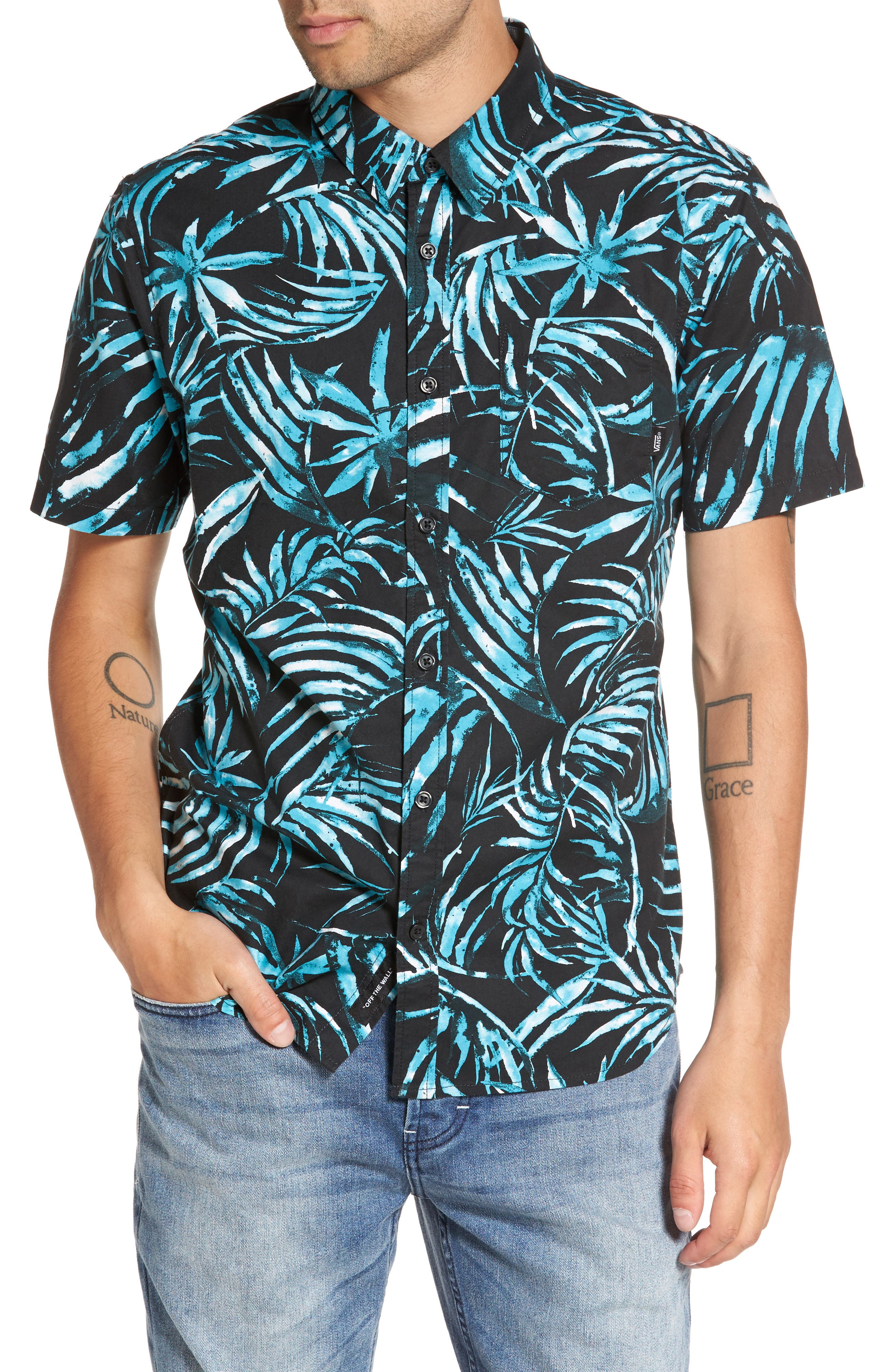 Del Playa Palm Print Woven Shirt,                             Main thumbnail 1, color,                             Black Water Palm