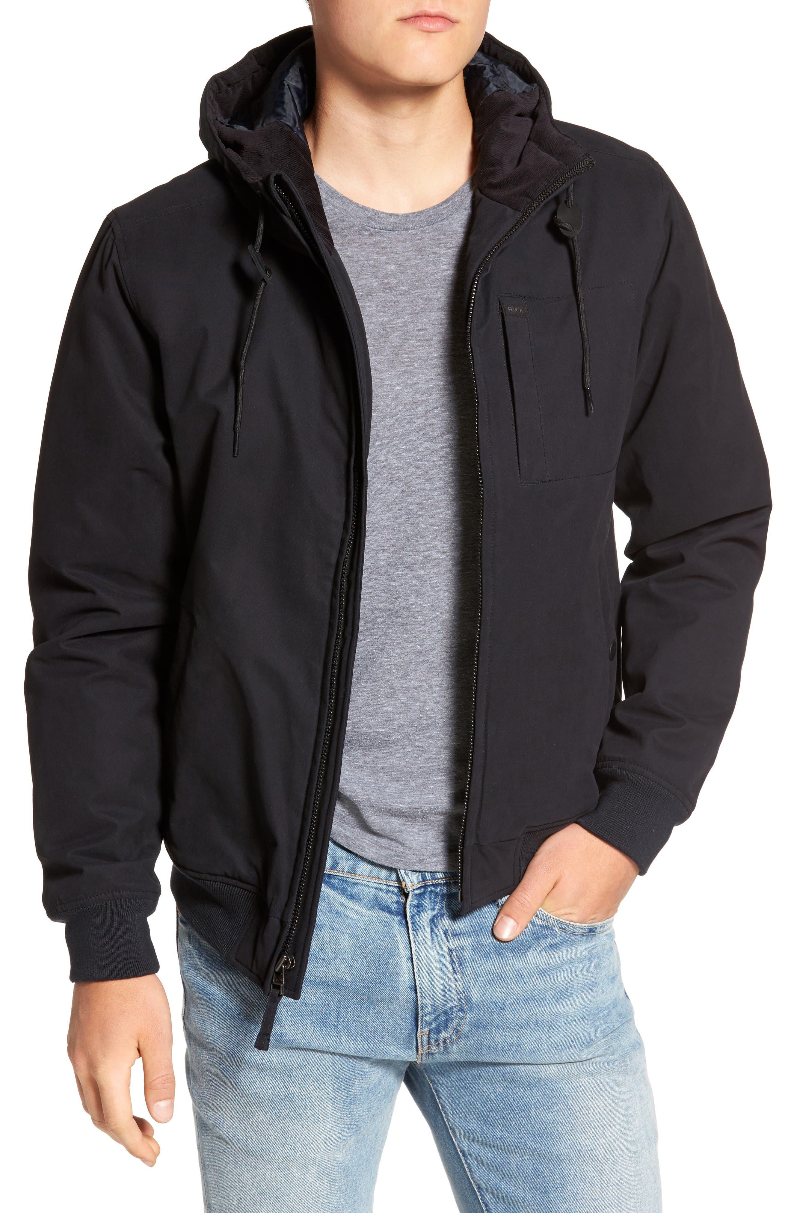 Hooded Bomber Jacket,                         Main,                         color, Black