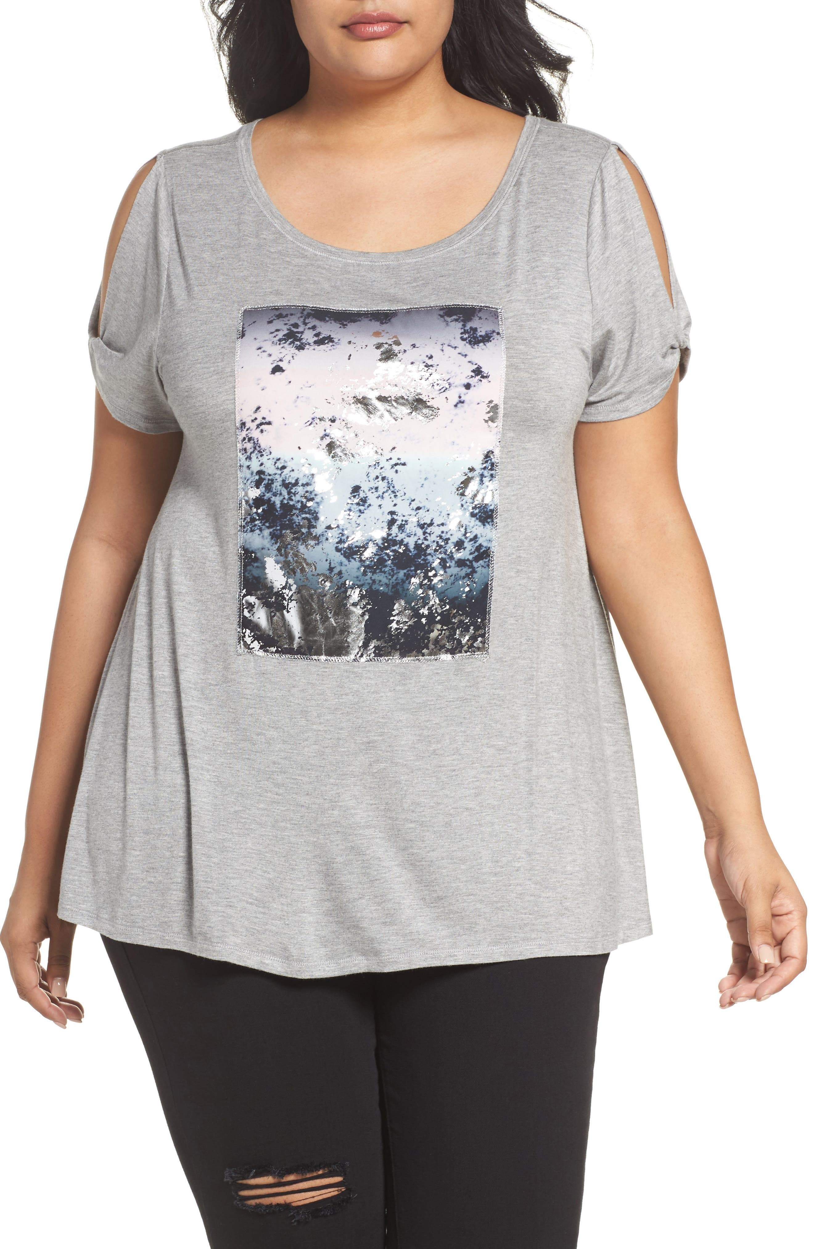 Graphic Swing Tee,                             Main thumbnail 1, color,                             Light Heather Grey