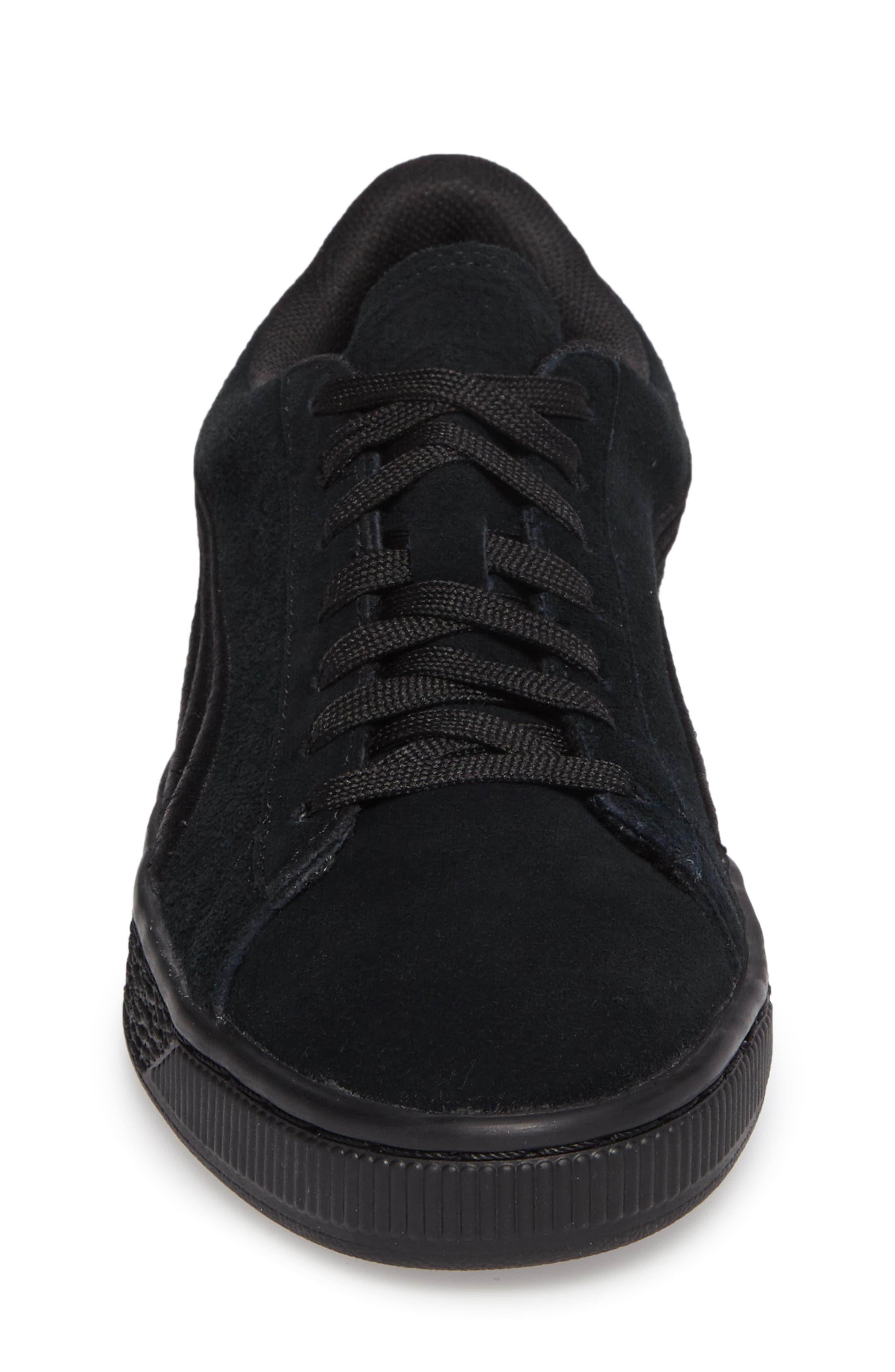 Suede Classic Badge Jr. Sneaker,                             Alternate thumbnail 4, color,                             Black/ Black