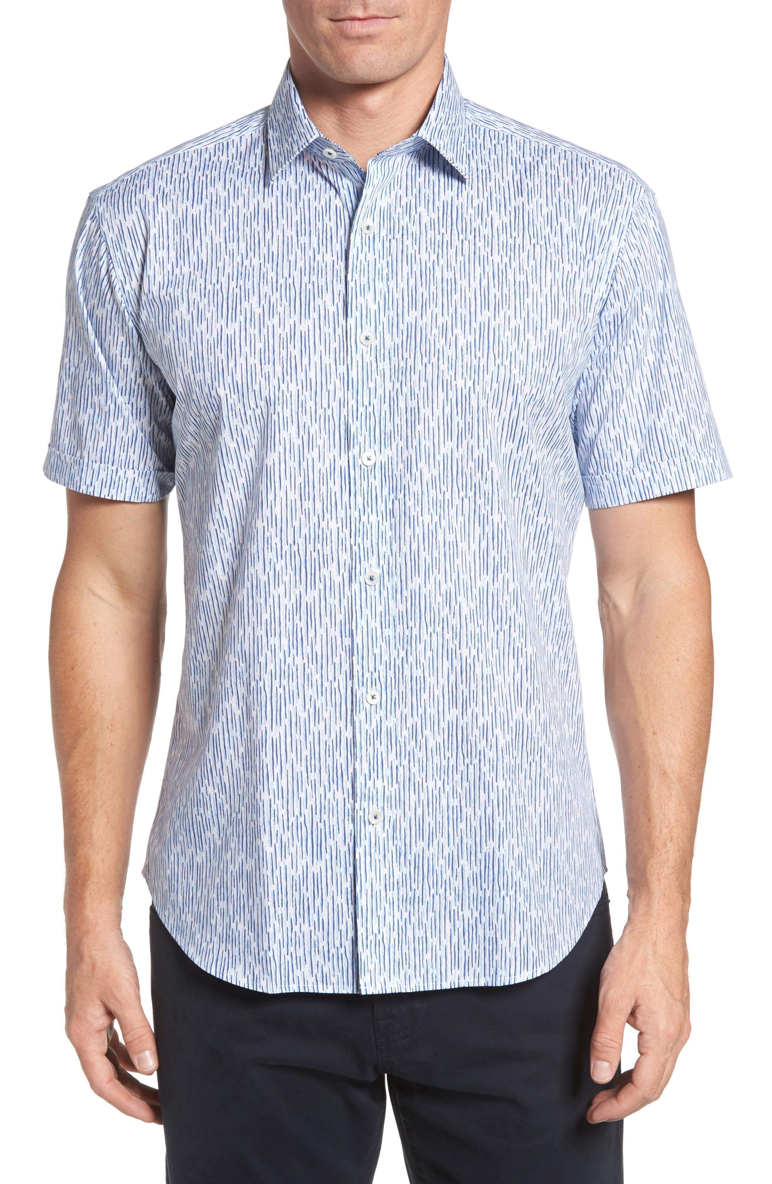 Shaped Fit Print Sport Shirt,                         Main,                         color, Ice