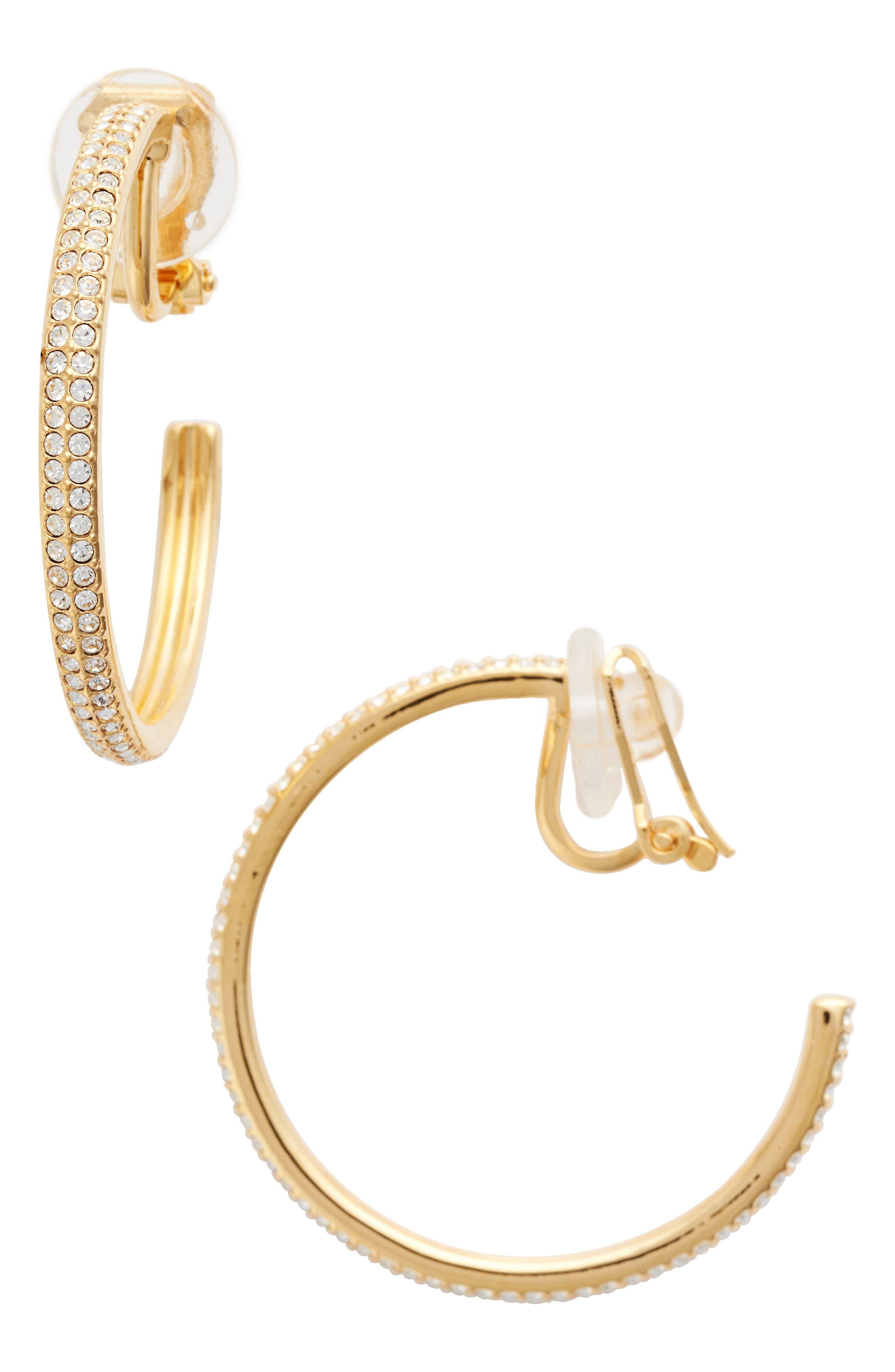 Clip-On Hoop Earrings,                         Main,                         color, Gold