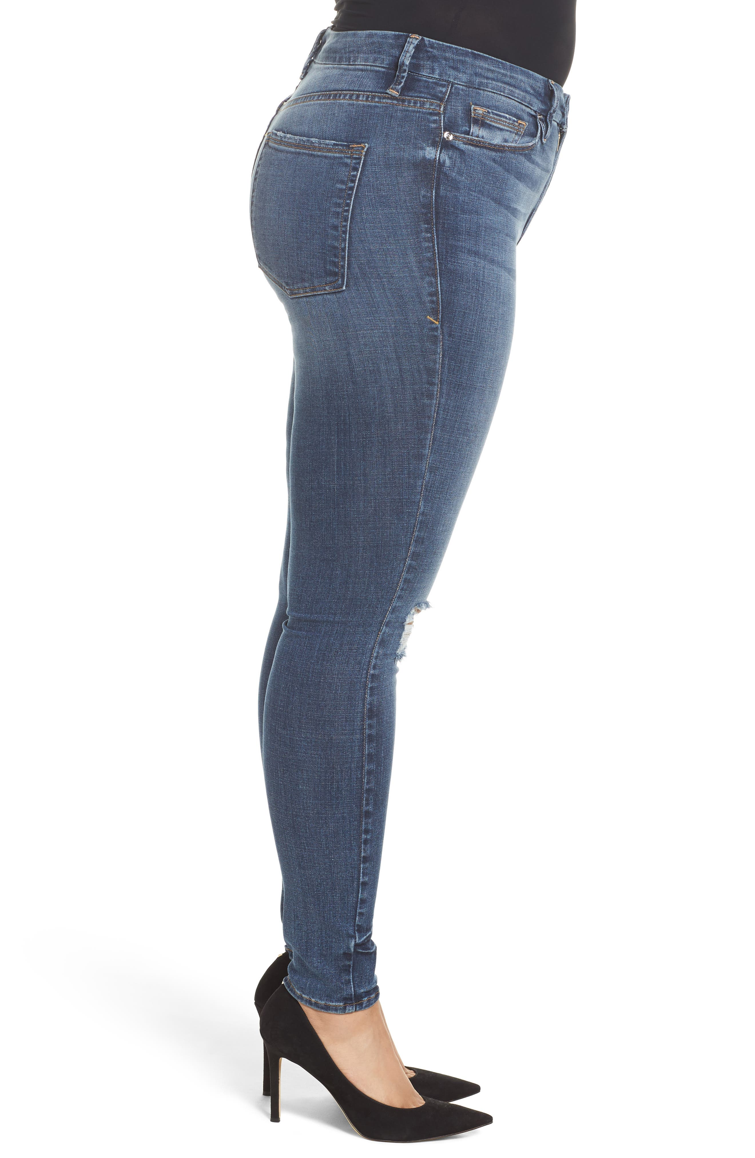 Alternate Image 9  - Good American Good Legs High Waist Ankle Skinny Jeans (Blue 084) (Regular & Plus Size)