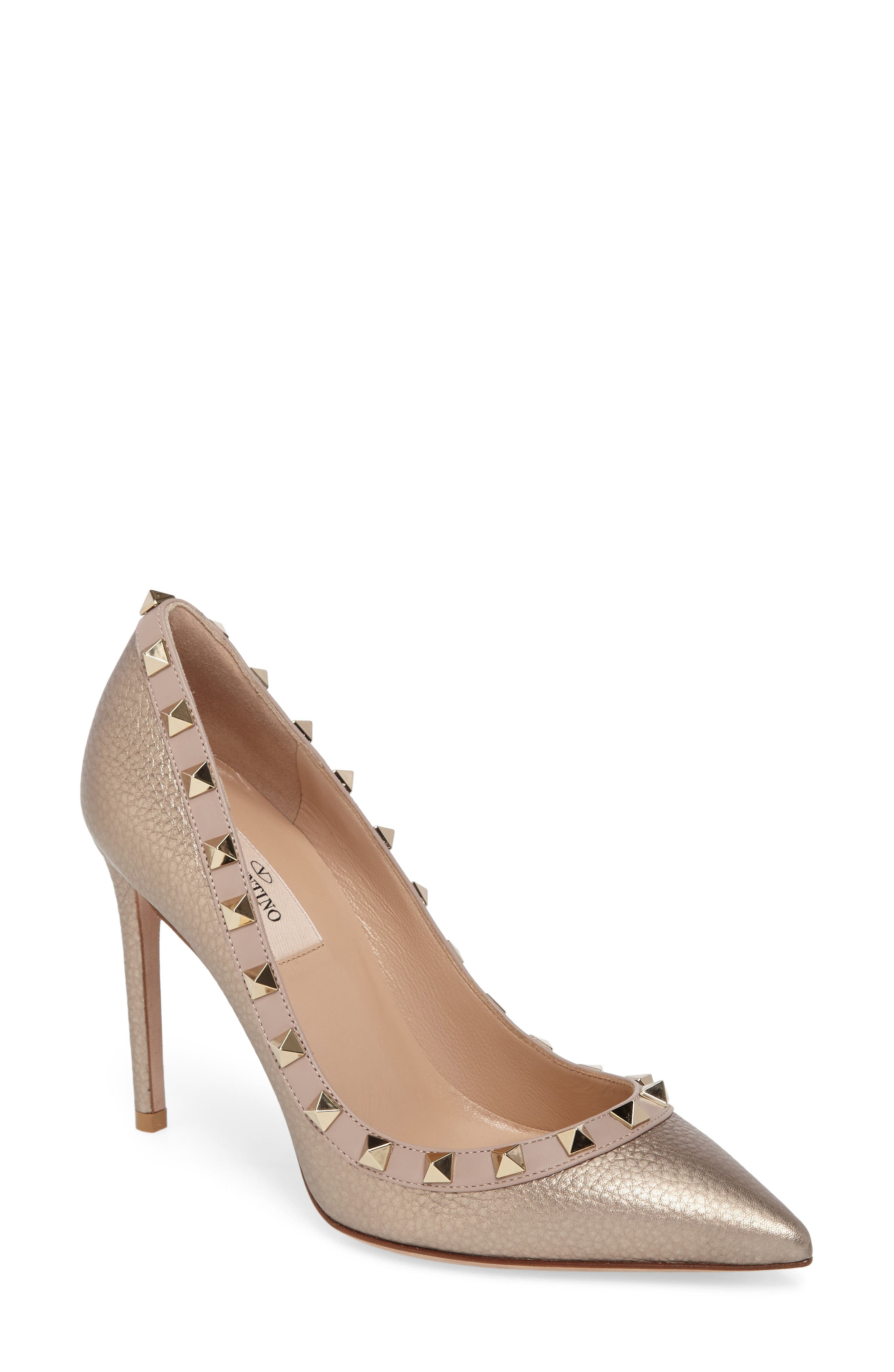 Rockstud Pointy Toe Pump,                         Main,                         color, Metallic Gold Leather