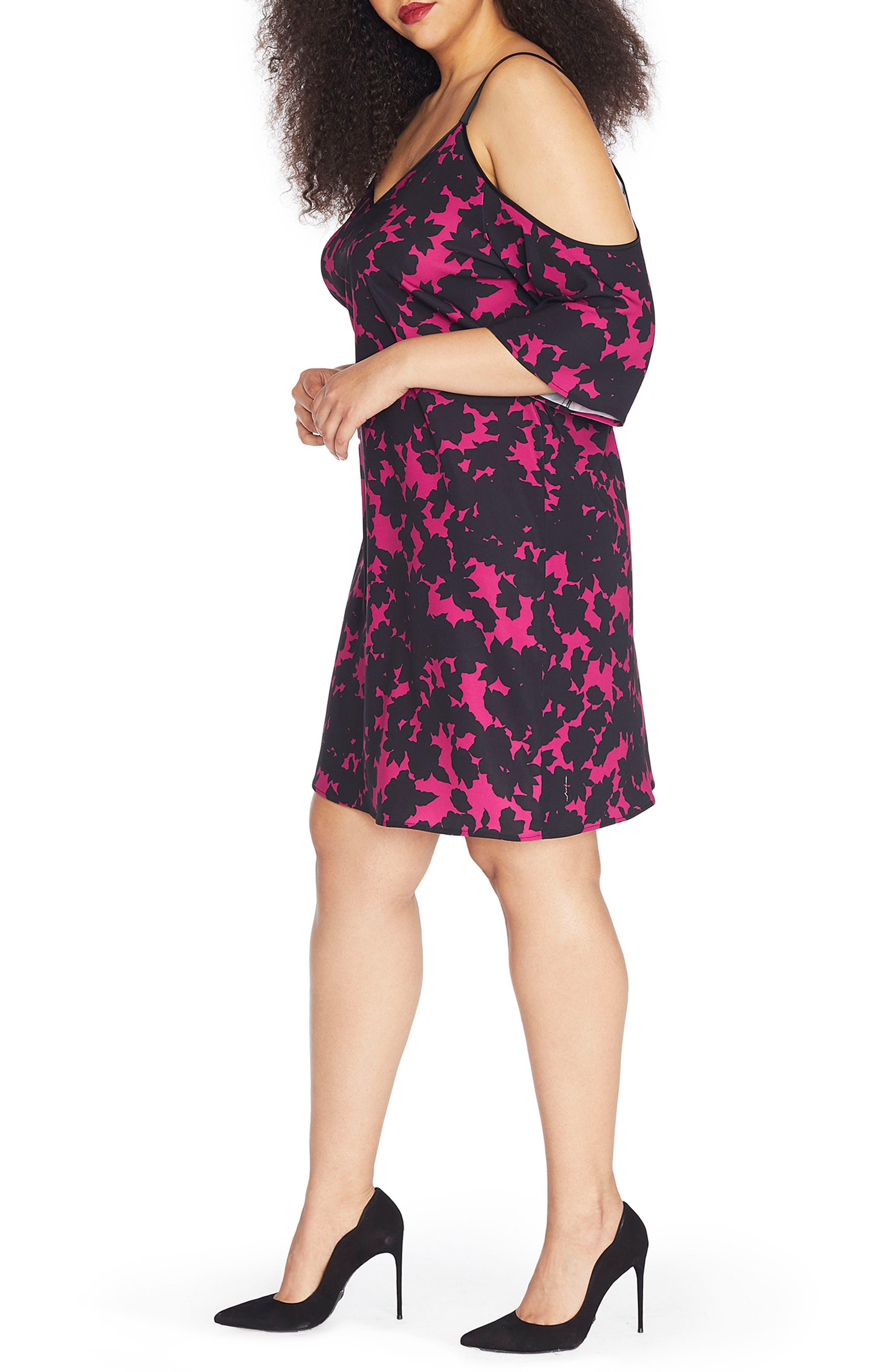 Cold Shoulder Crepe Dress,                             Alternate thumbnail 3, color,                             Blackout Floral