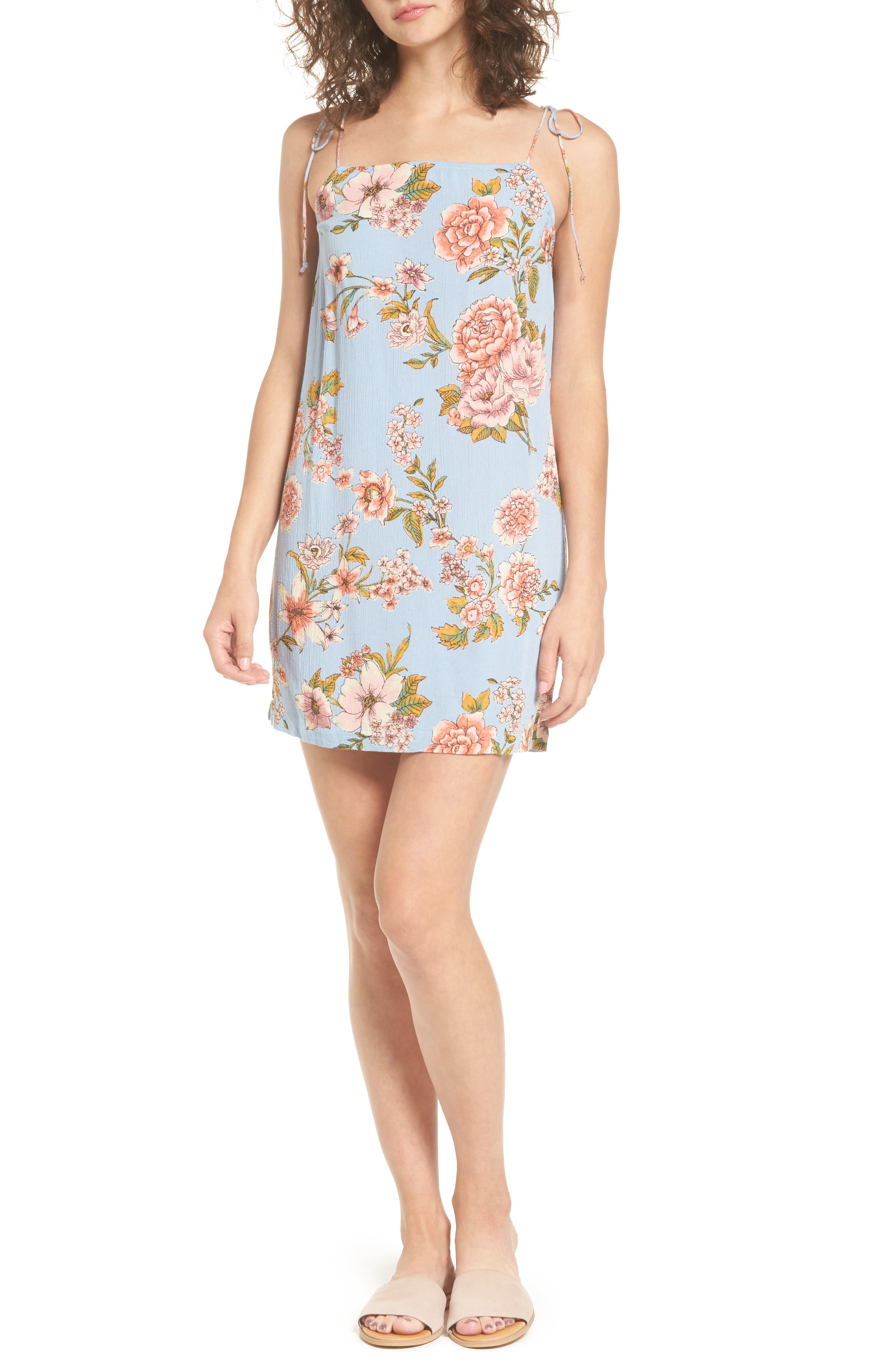Night Out Floral Camisole Dress,                         Main,                         color, Blue Rinse