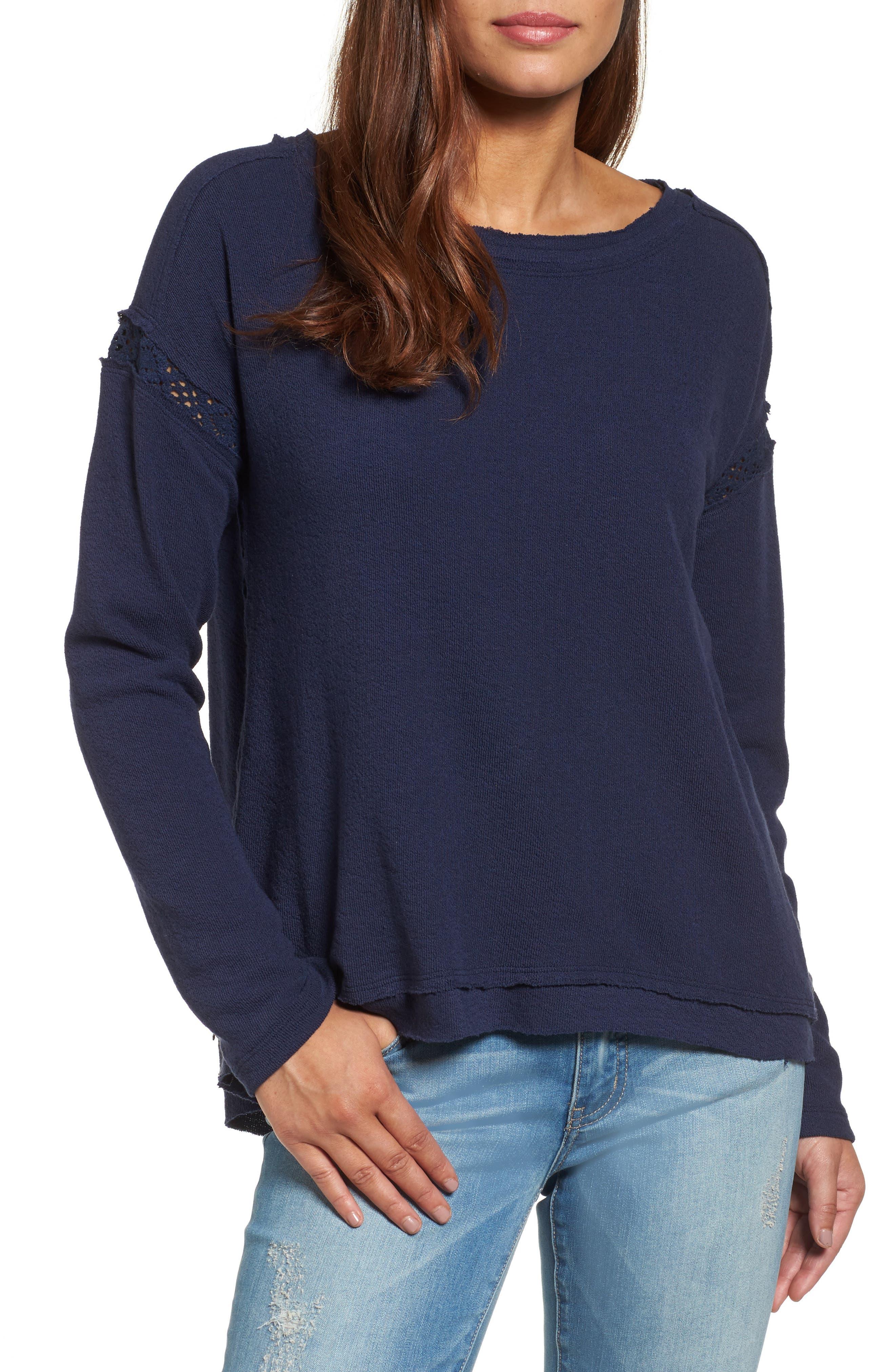 Crochet Lace Trim Sweatshirt,                             Main thumbnail 1, color,                             Navy Peacoat