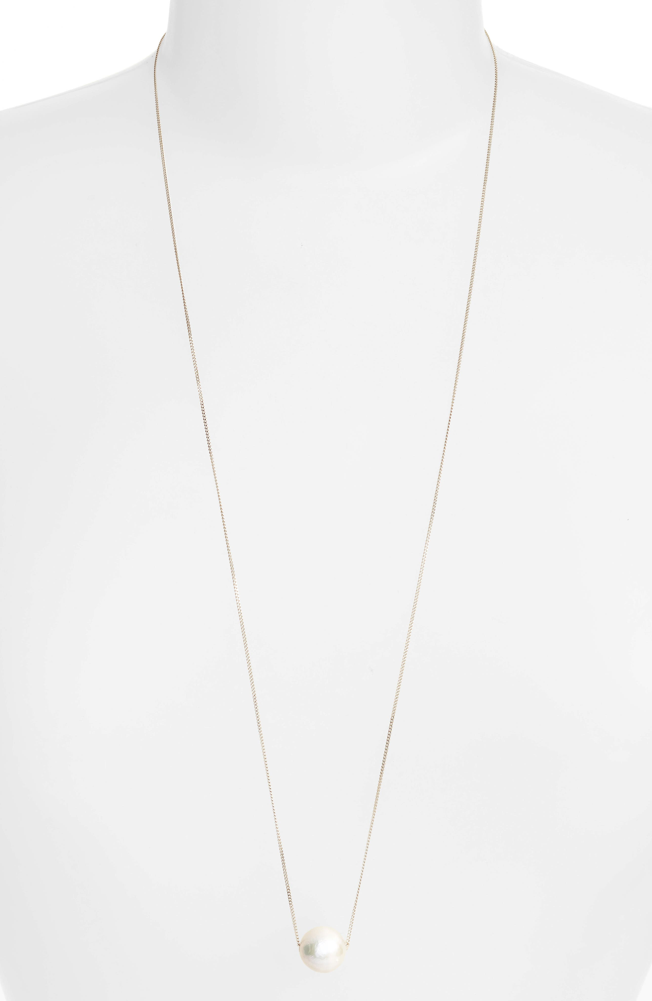 CHAN LUU Long Pearl Pendant Necklace