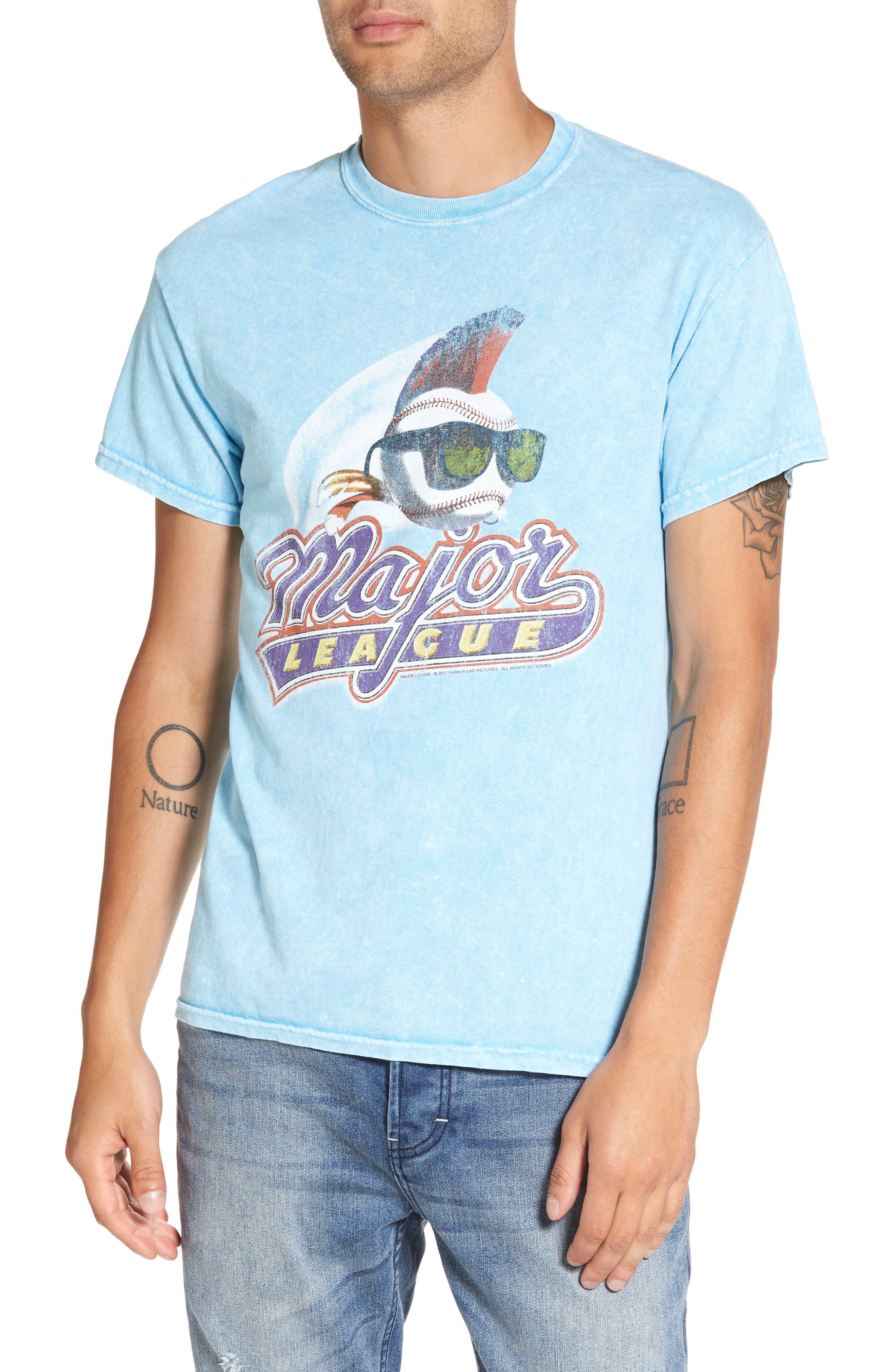 Washed Graphic T-Shirt,                         Main,                         color, Blue Light Major League