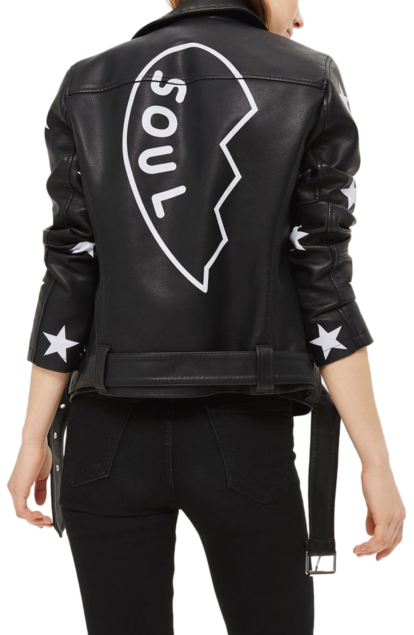 Alternate Image 3  - Topshop Soul Faux Leather Biker Jacket