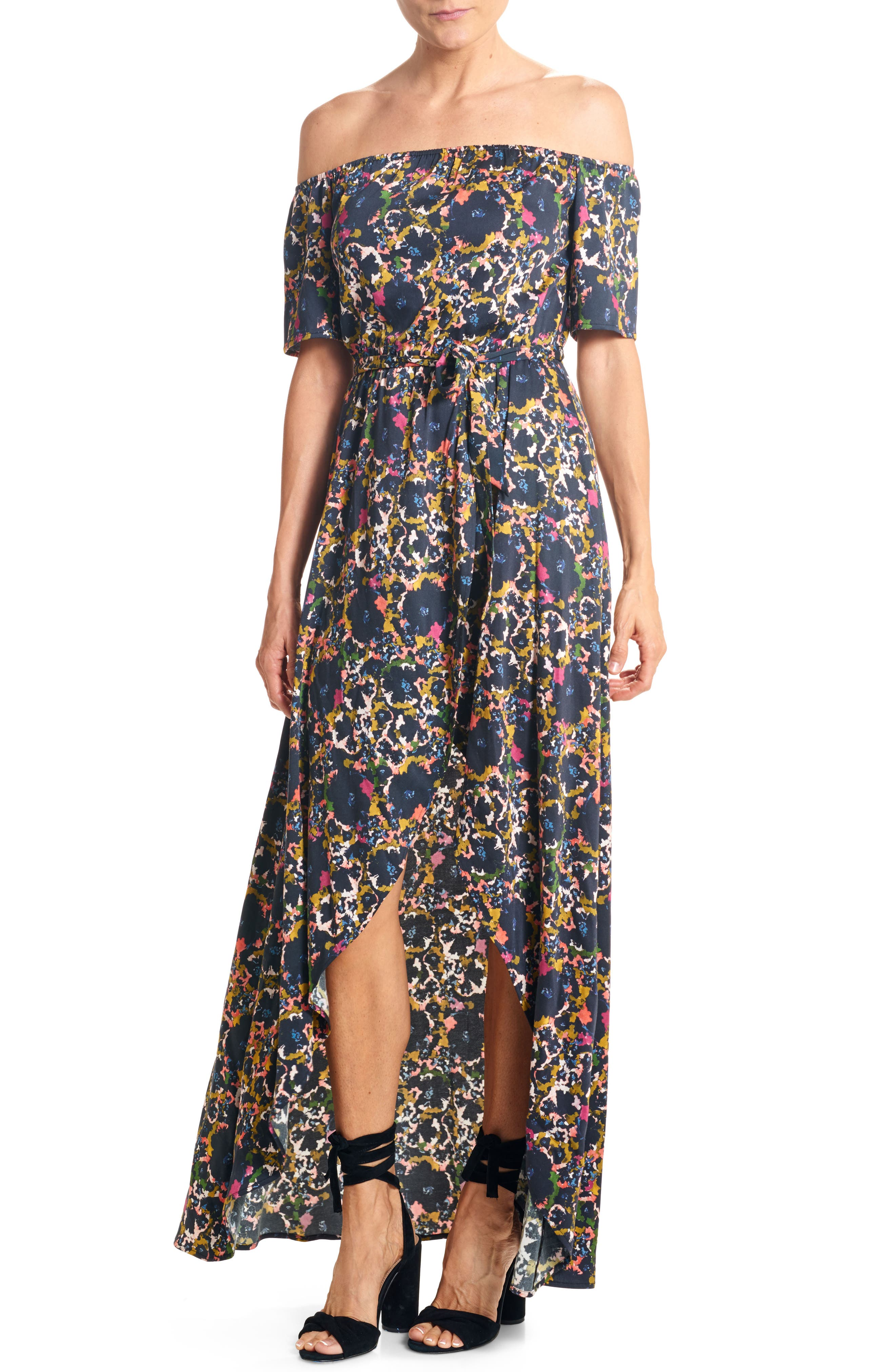Off the Shoulder Crepe Maxi Dress,                         Main,                         color, Fleur