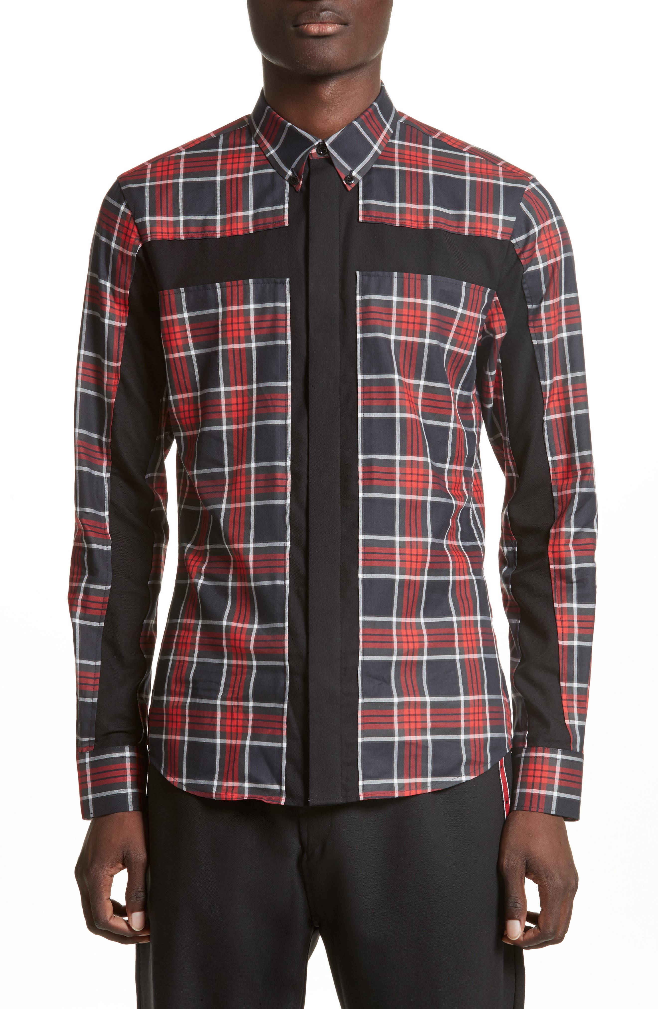 Panel Check Sport Shirt,                         Main,                         color, Red