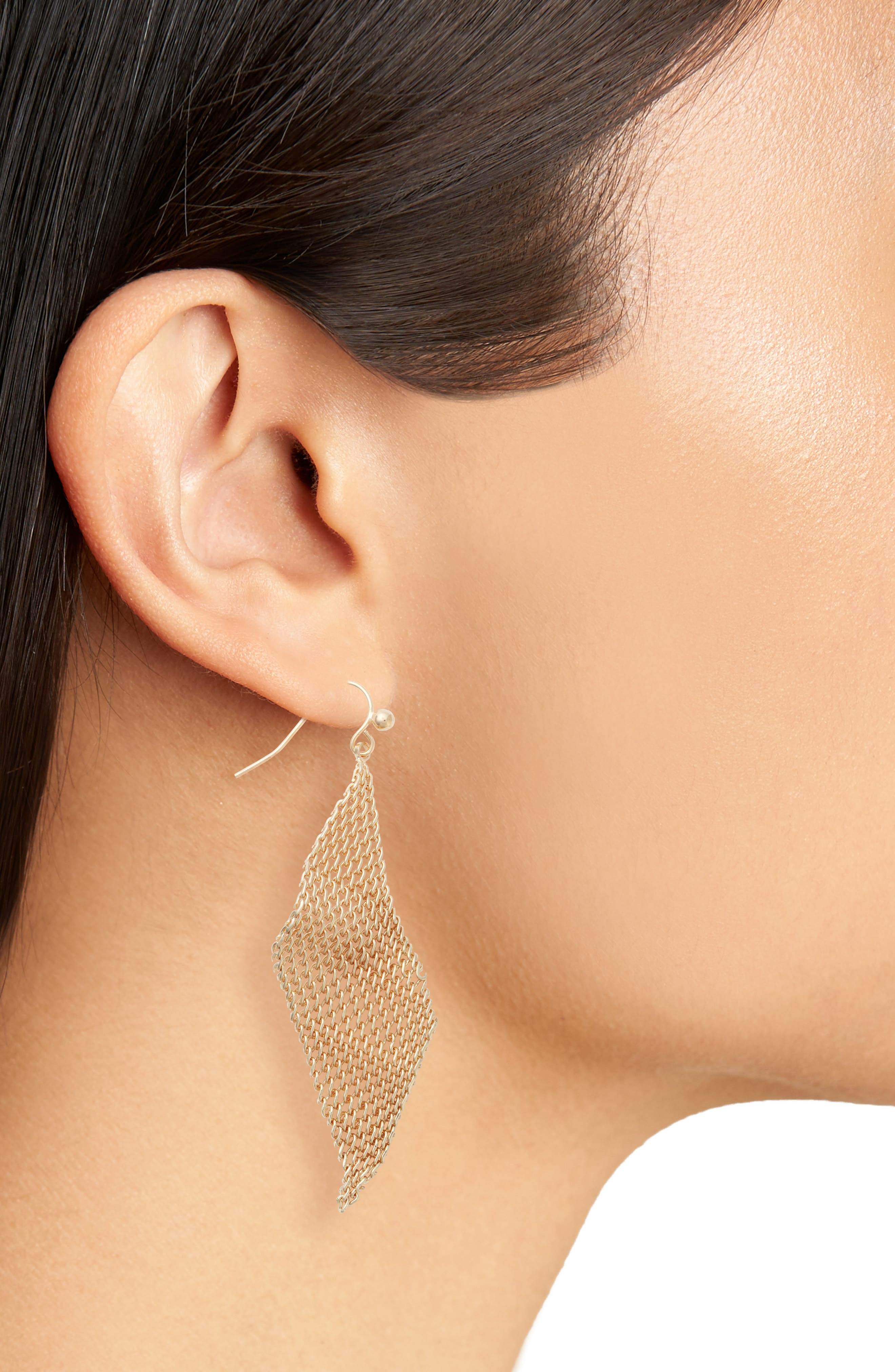 Mesh Wave Kite Earrings,                             Alternate thumbnail 2, color,                             Gold