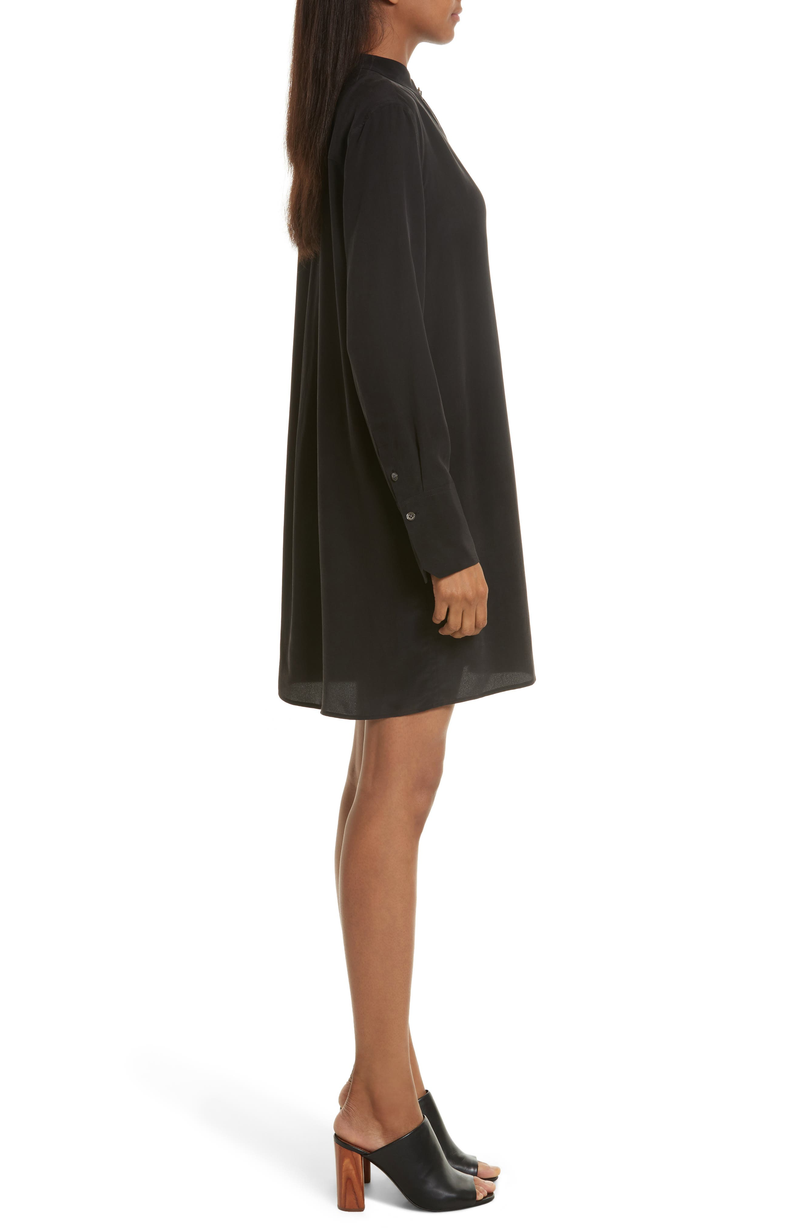 Cadence Silk Shift Dress,                             Alternate thumbnail 3, color,                             True Black