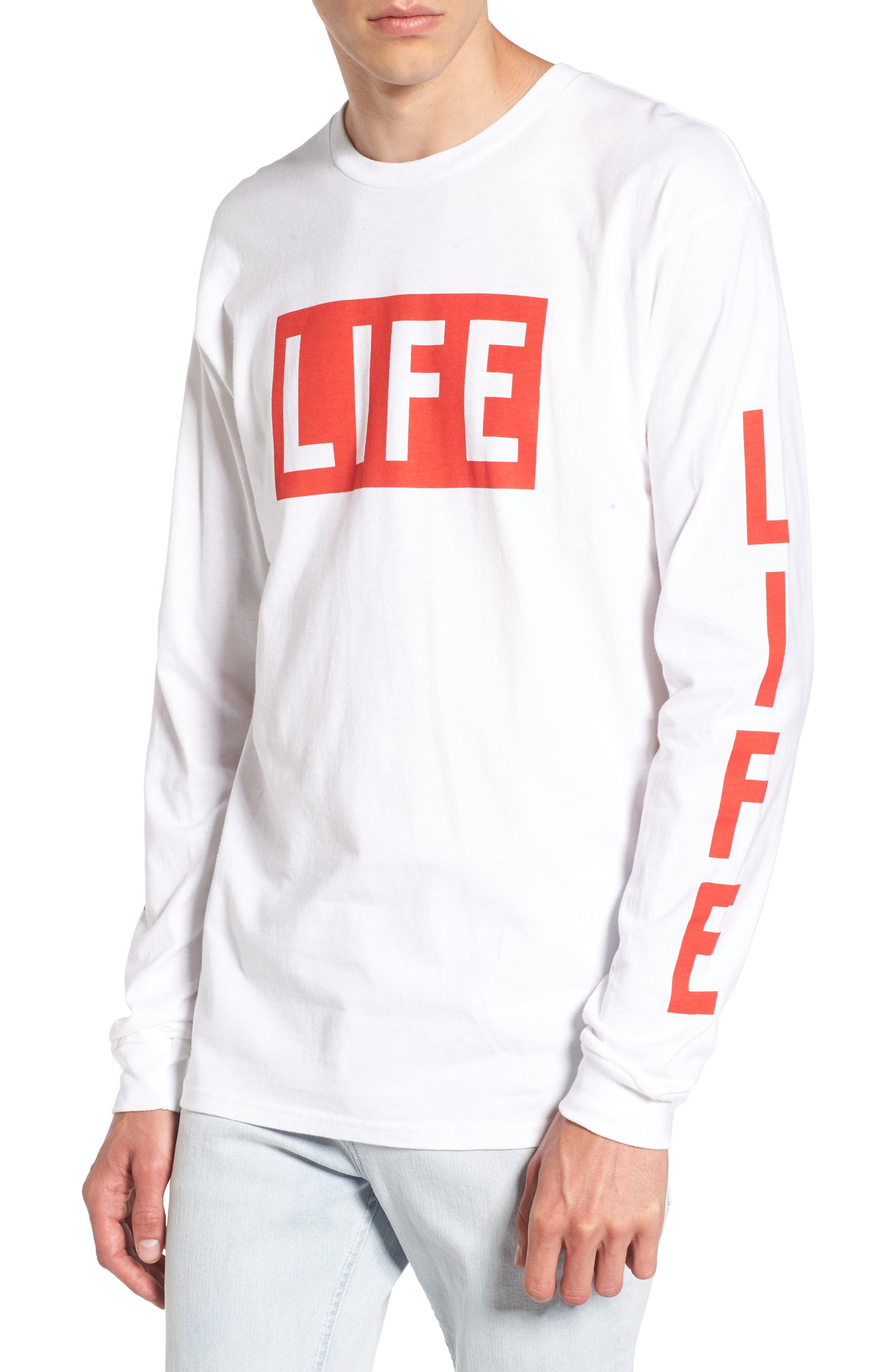 Life Logo Long Sleeve T-Shirt,                         Main,                         color, White