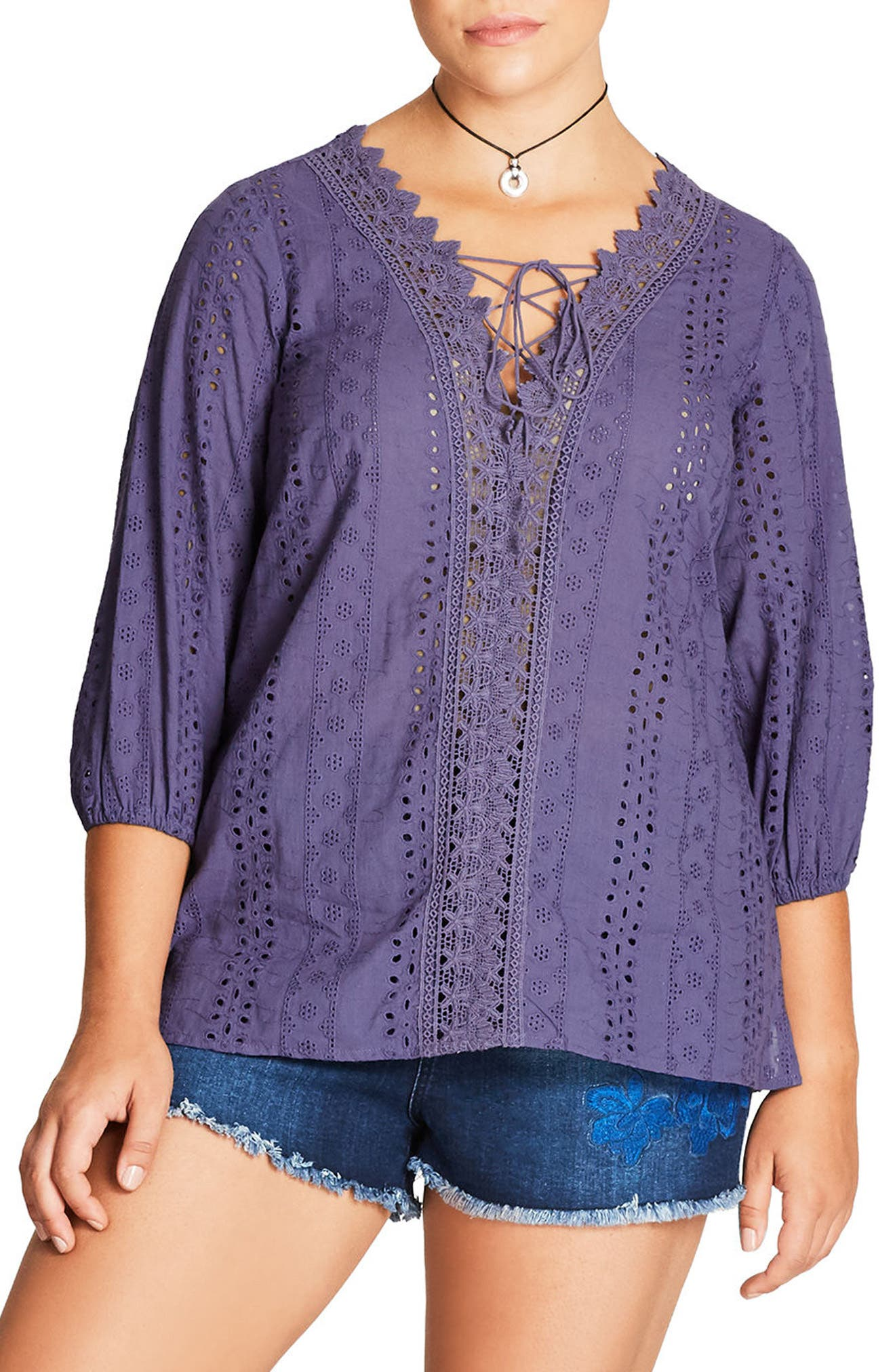 Alternate Image 1 Selected - City Chic Kiss Me Quick Top (Plus Size)