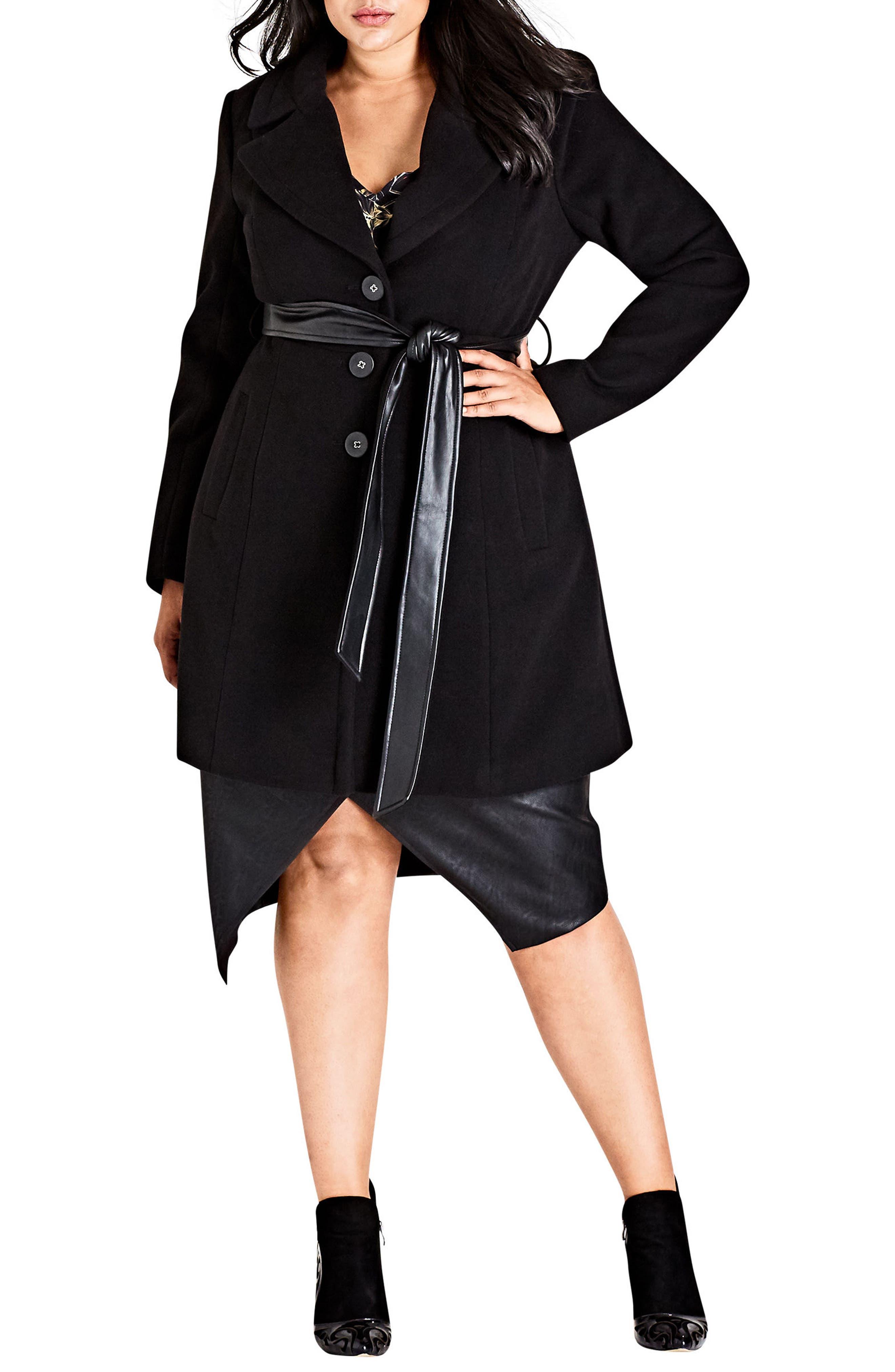 Alternate Image 2  - City Chic Midnight Escape Coat (Plus Size)