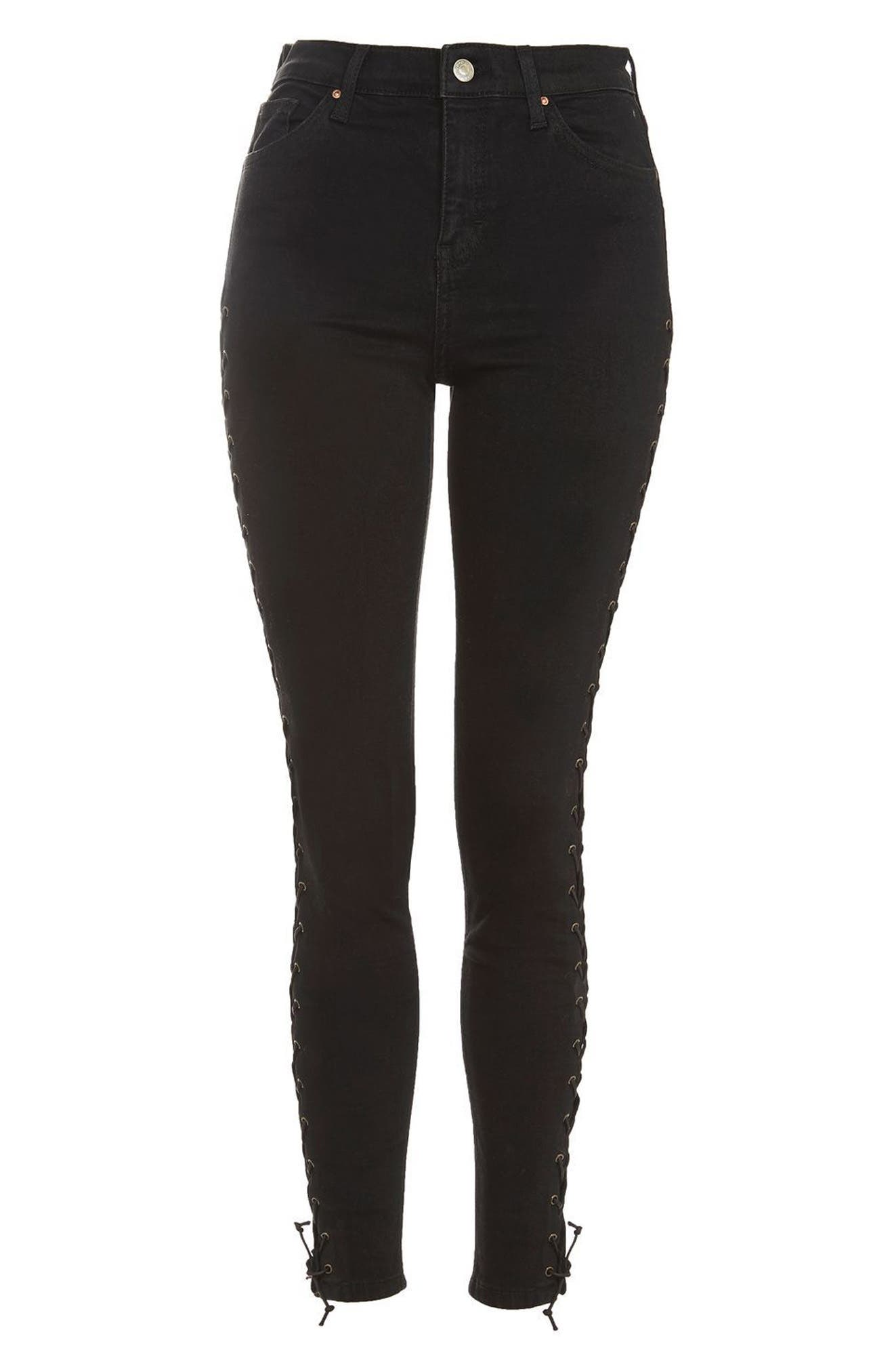 Jamie Lace-Up Side Skinny Jeans,                             Alternate thumbnail 4, color,                             Black