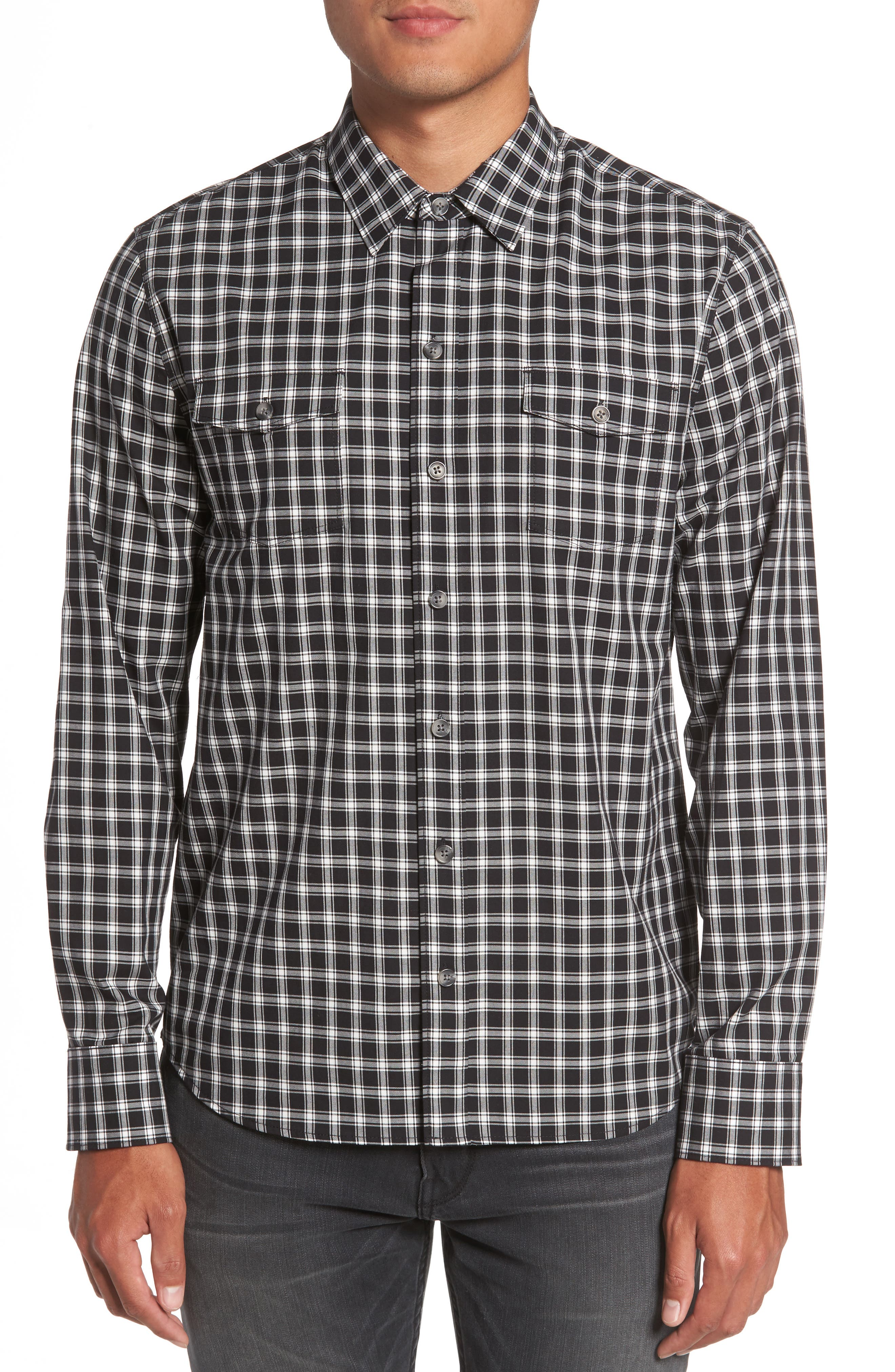 Everett Check Sport Shirt,                             Main thumbnail 1, color,                             Black Slate