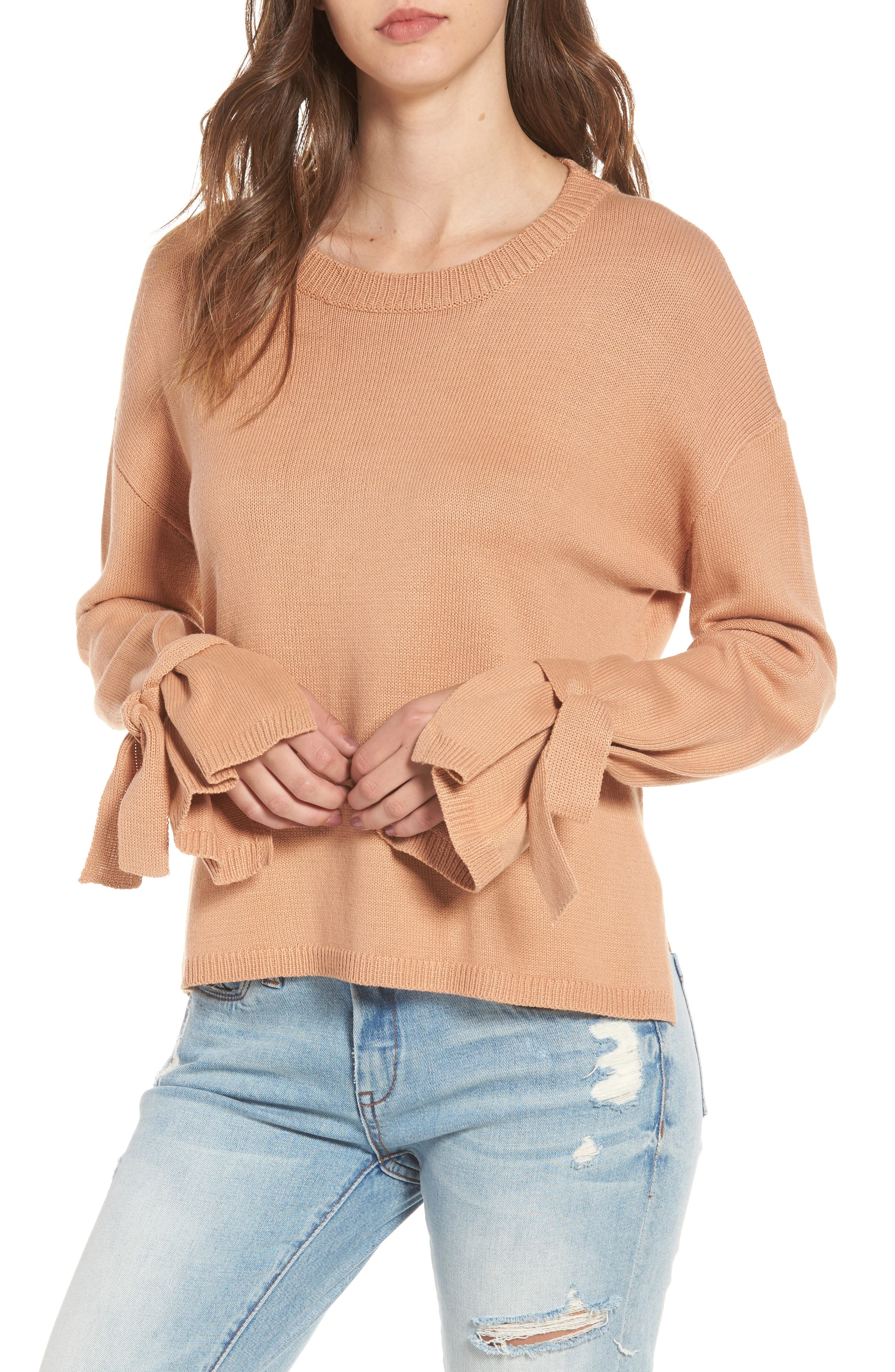 Main Image - ASTR the Label Tie Sleeve Sweater