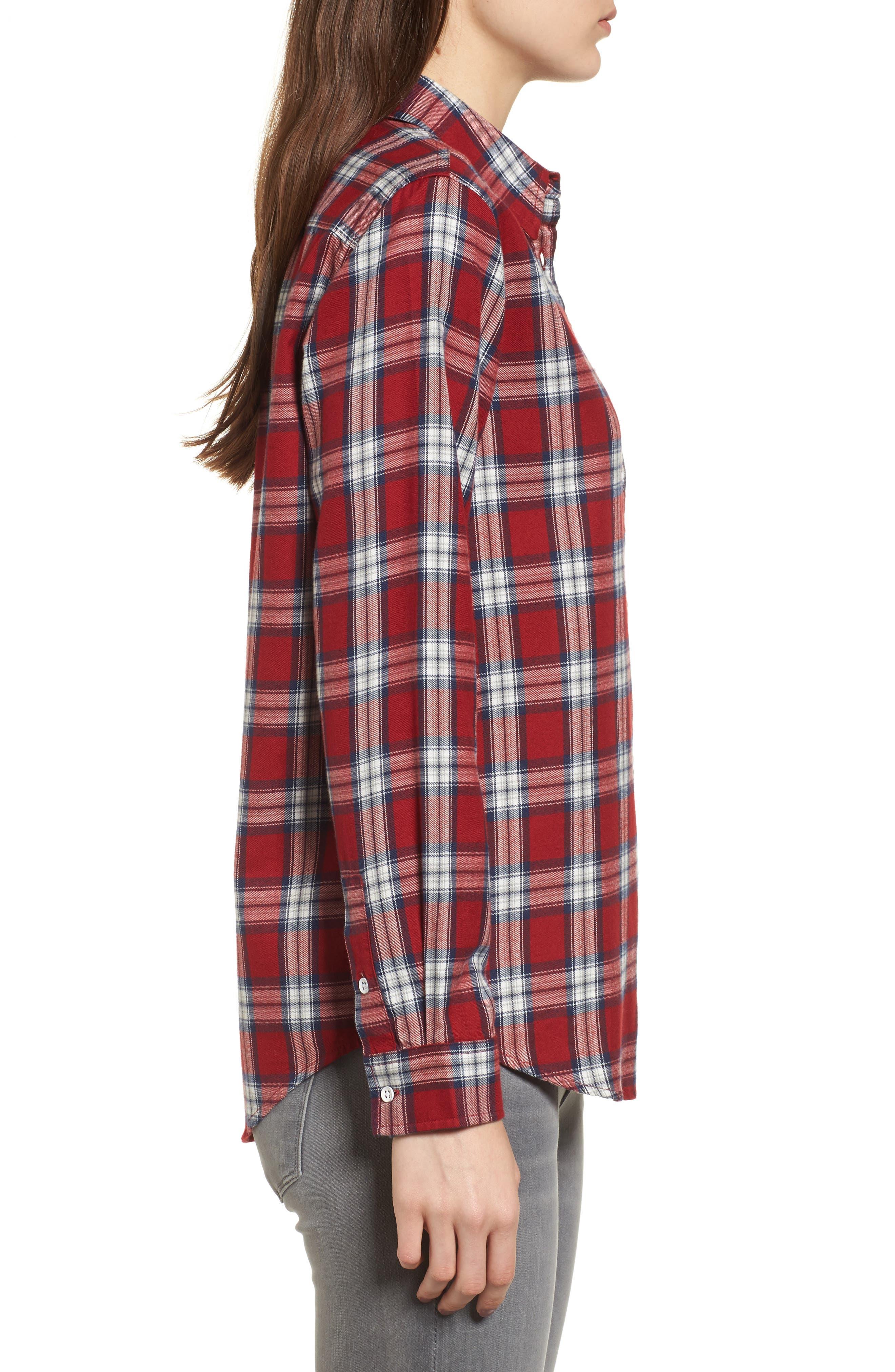 Mercer & Spring Plaid Shirt,                             Alternate thumbnail 3, color,                             Red Plaid