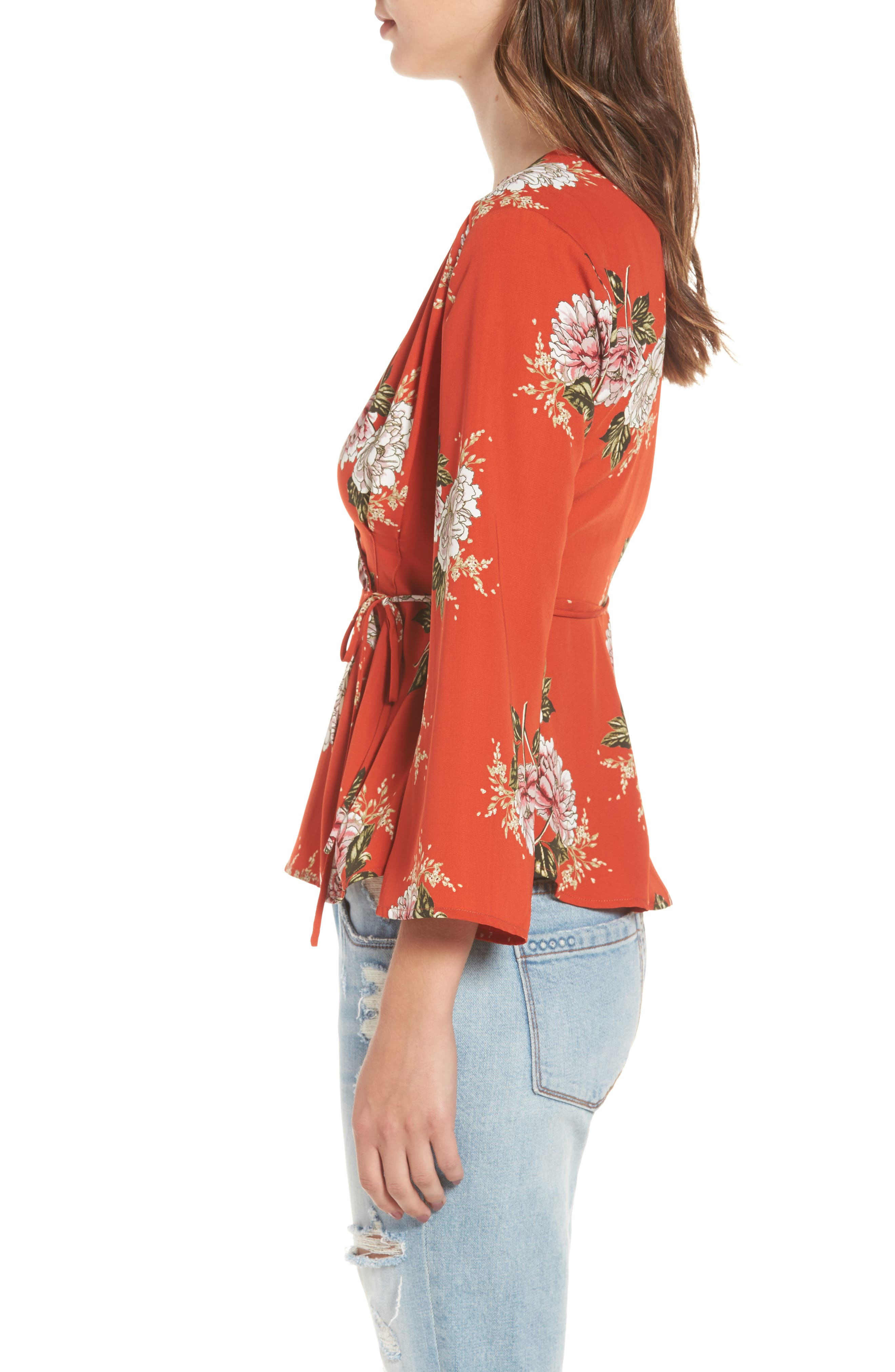Wrap Top,                             Alternate thumbnail 3, color,                             Red Multi Floral